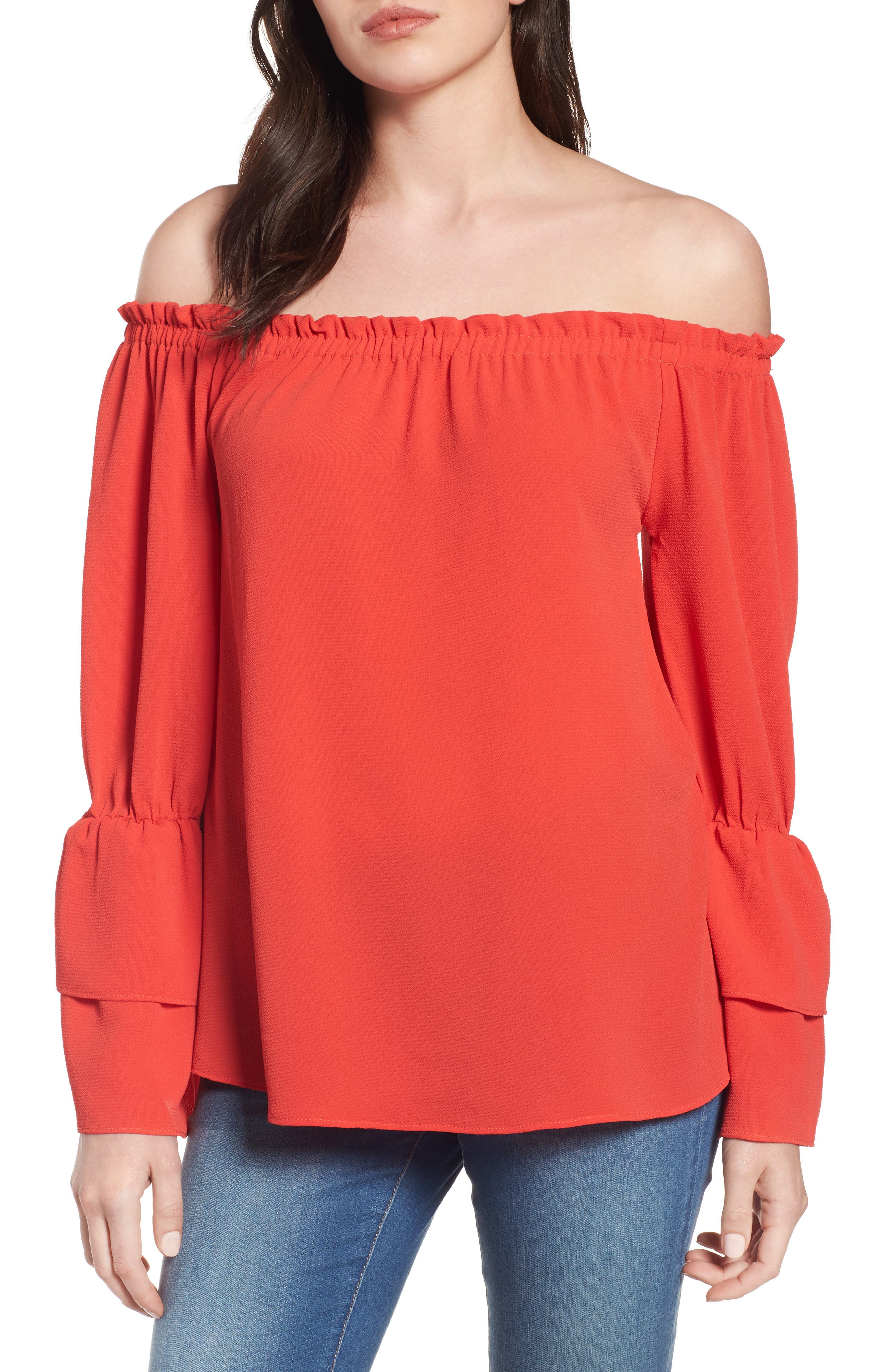 Bobeau Tiered Bell Sleeve Off the Shoulder Top (Regular & Petite)