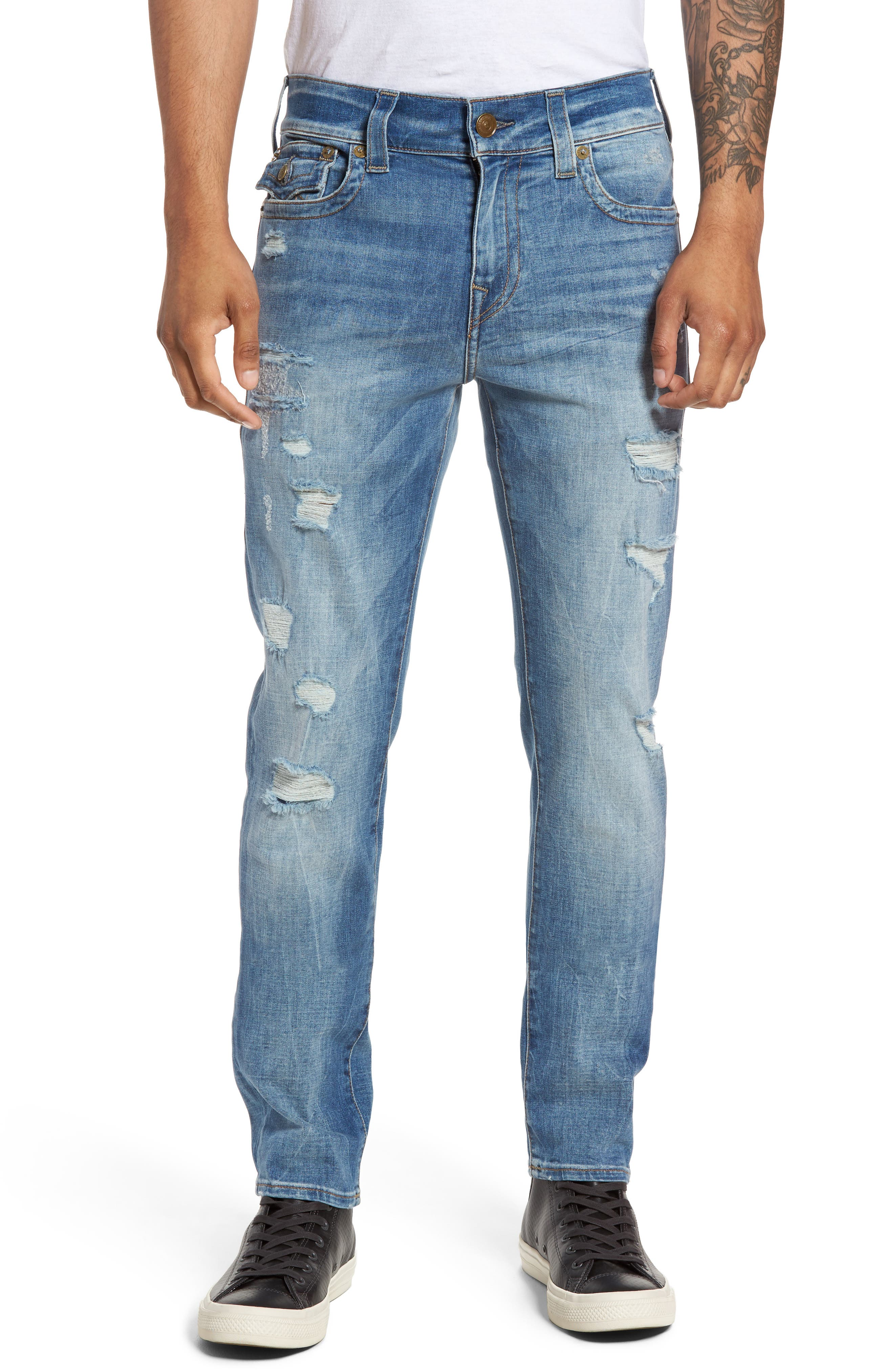 True Religion Brand Jeans Rocco Skinny Fit Jeans (Worn Riff) (Regular & Big)