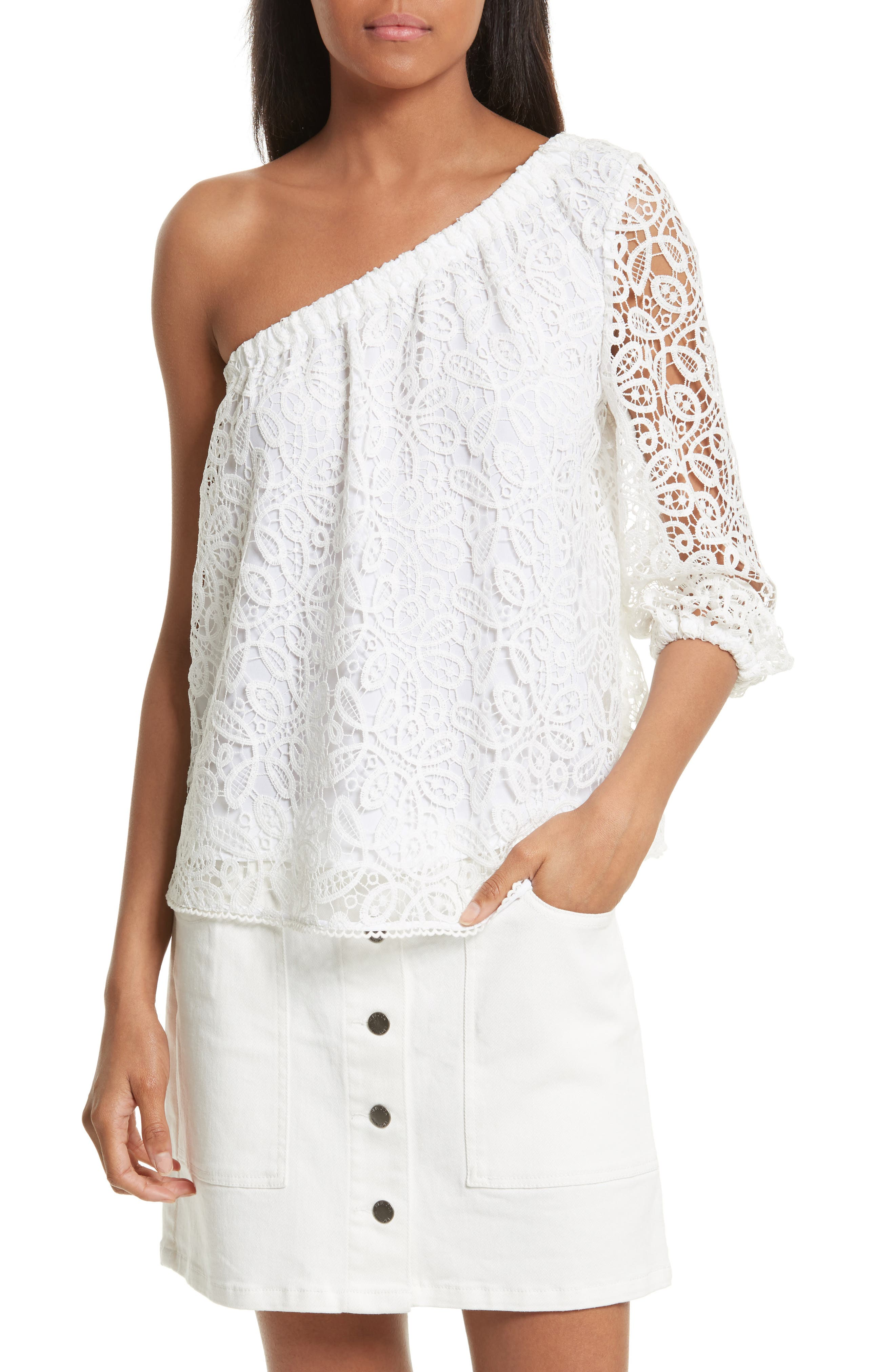 Rebecca Minkoff Harmony One-Shoulder Lace Top