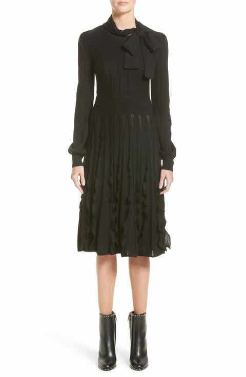 Valentino Ruffle Skirt Wool Knit Dress