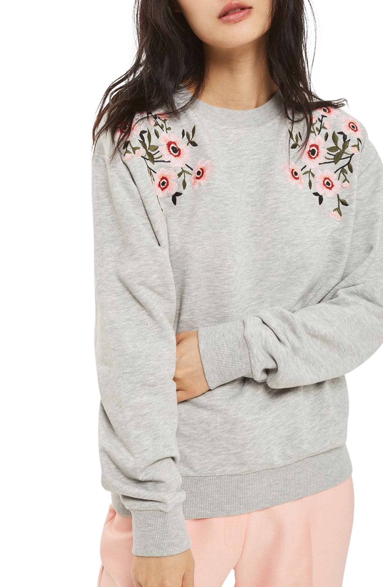 Topshop Embroidered Sweatshirt (Regular & Petite)