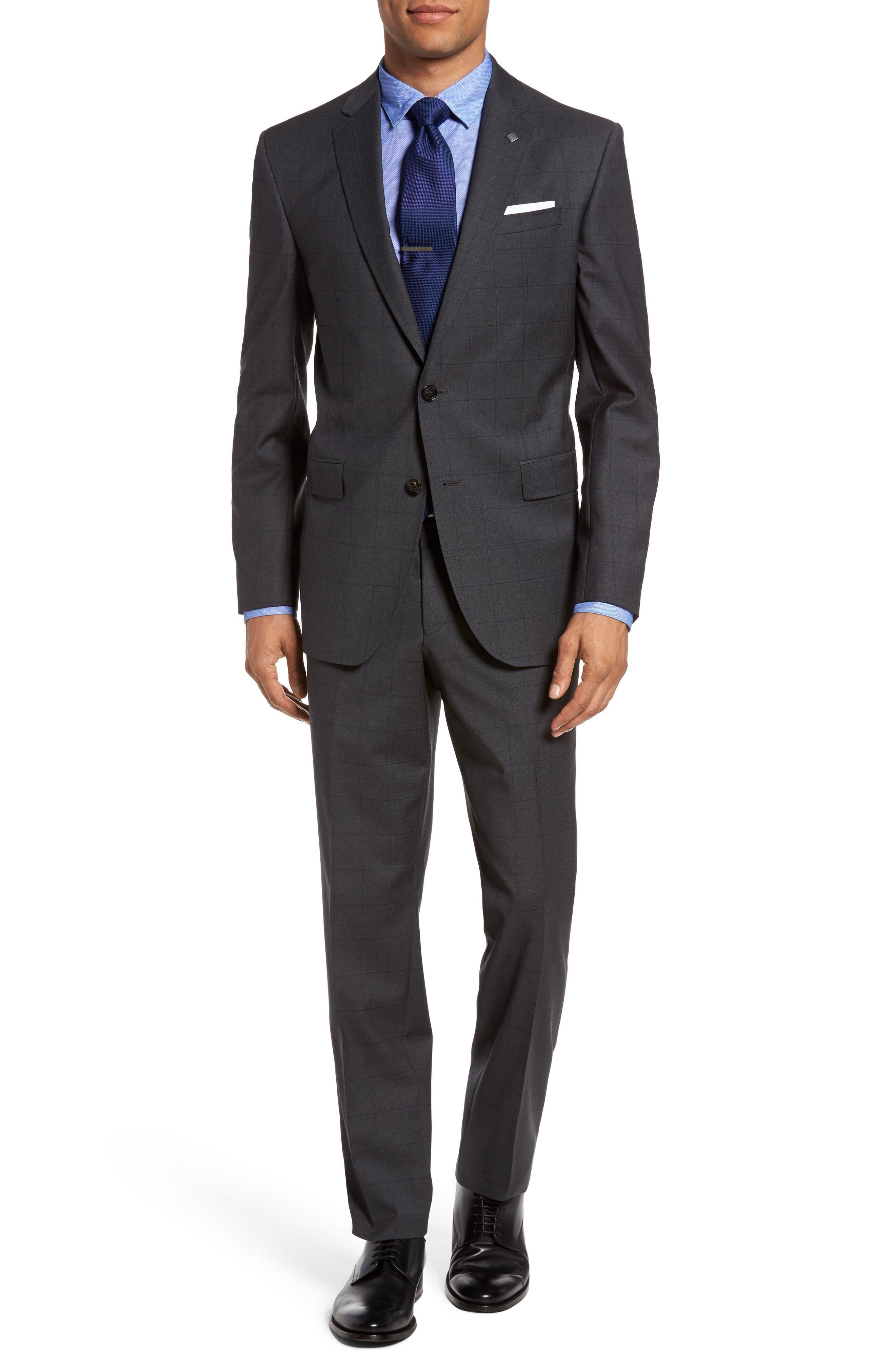 Ted Baker London Jay Trim Fit Windowpane Wool Suit