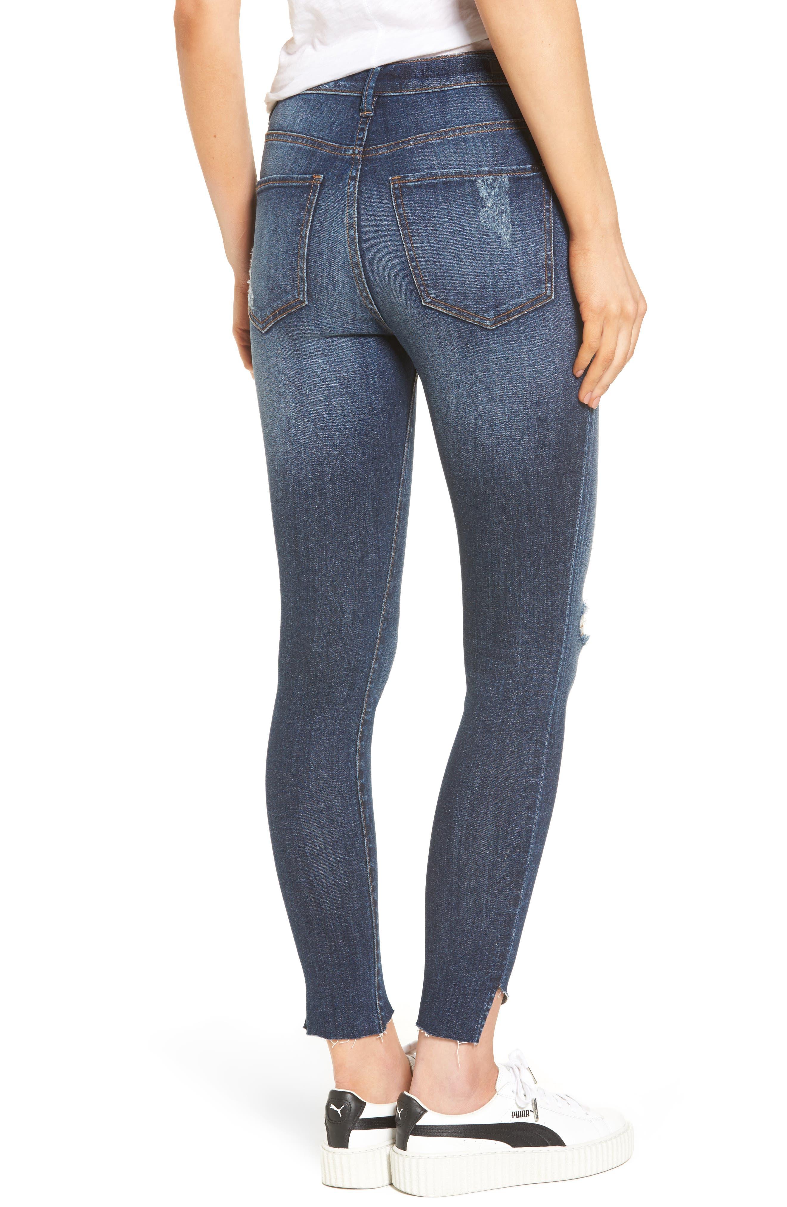 Alternate Image 2  - SP Black Angled Step Hem High Waist Skinny Jeans