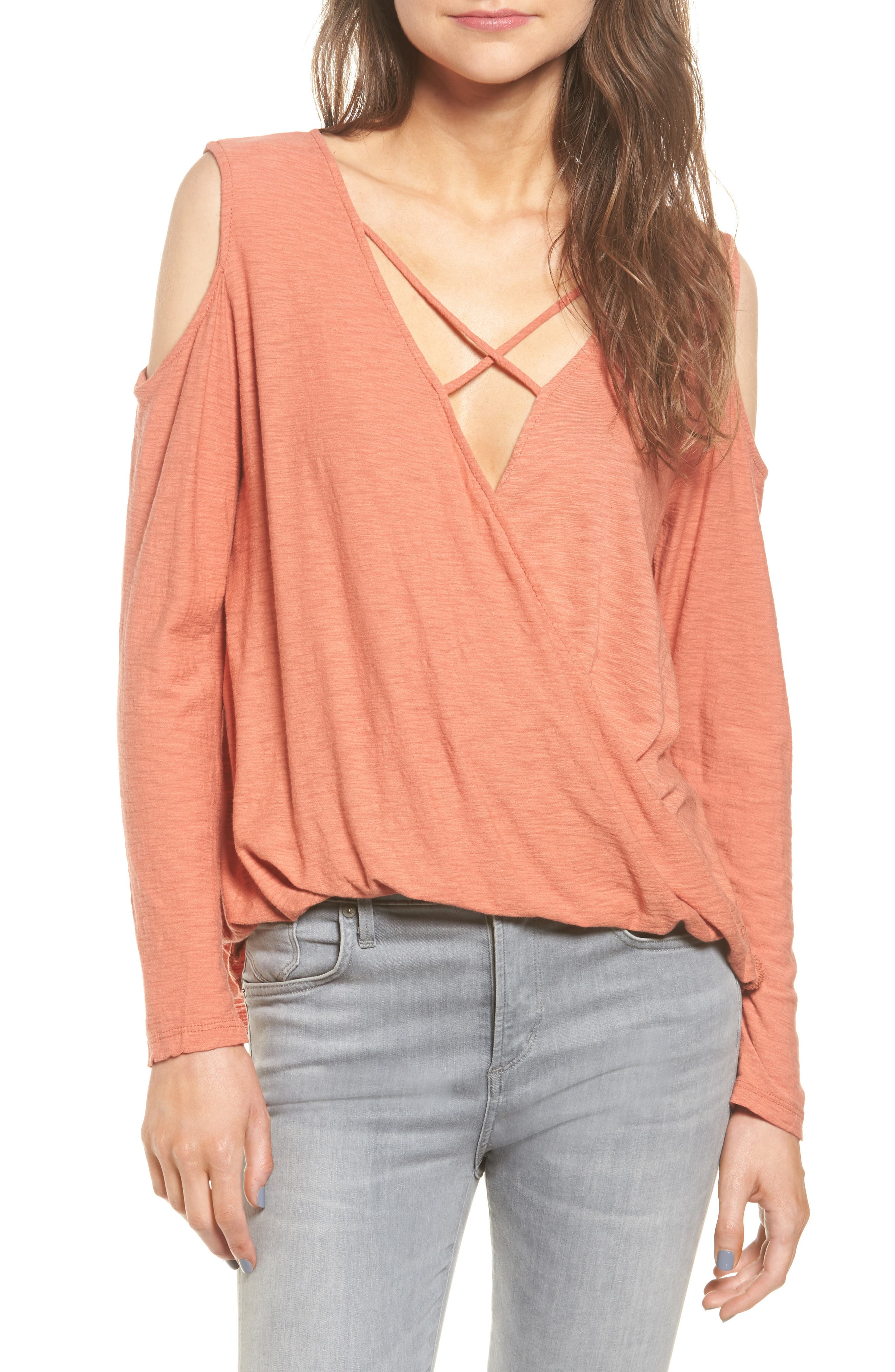 Michelle by Comune Anchor Cold Shoulder Surplice Tee
