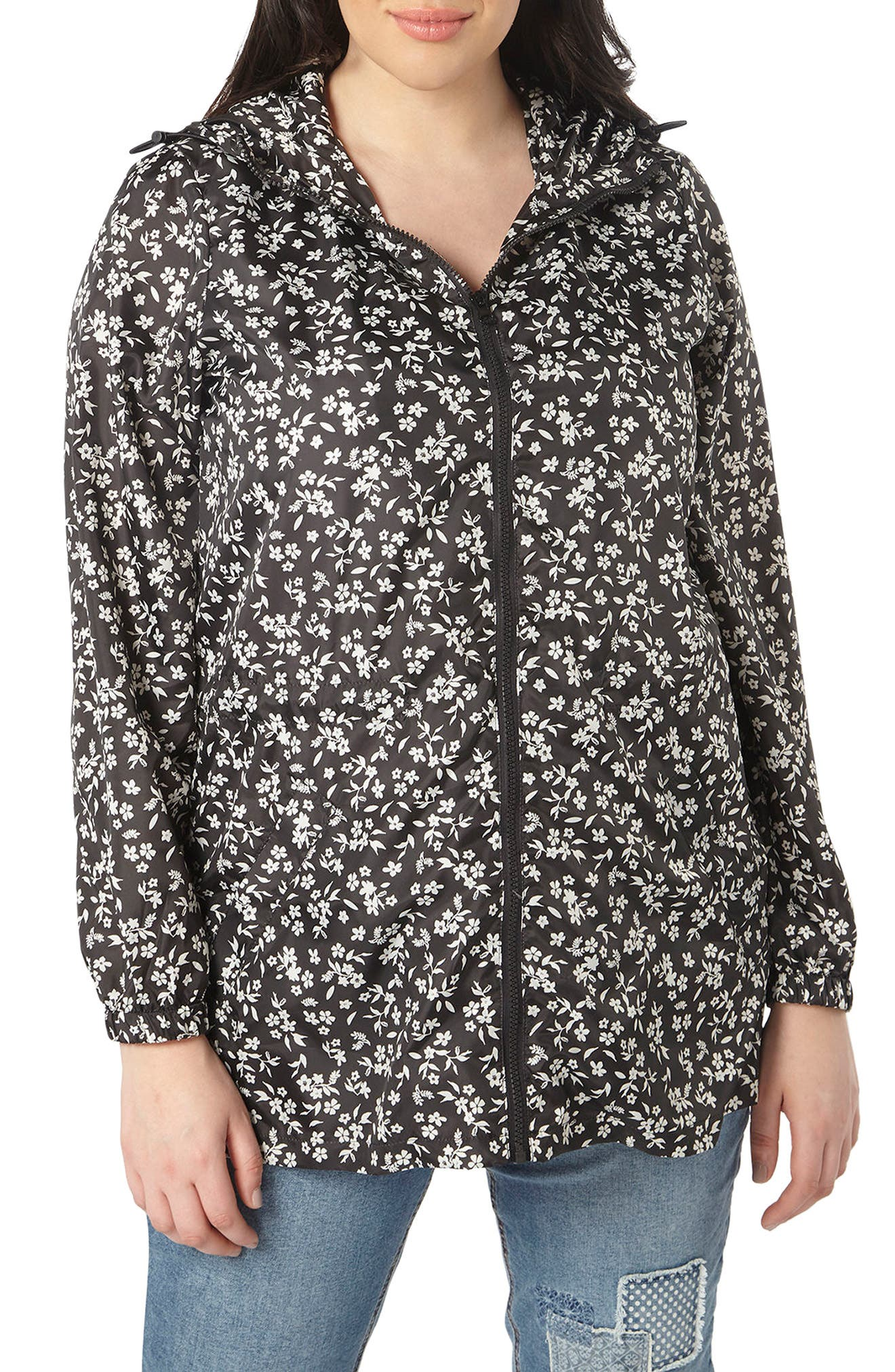 Evans Ditsy Floral Print Raincoat (Plus Size)