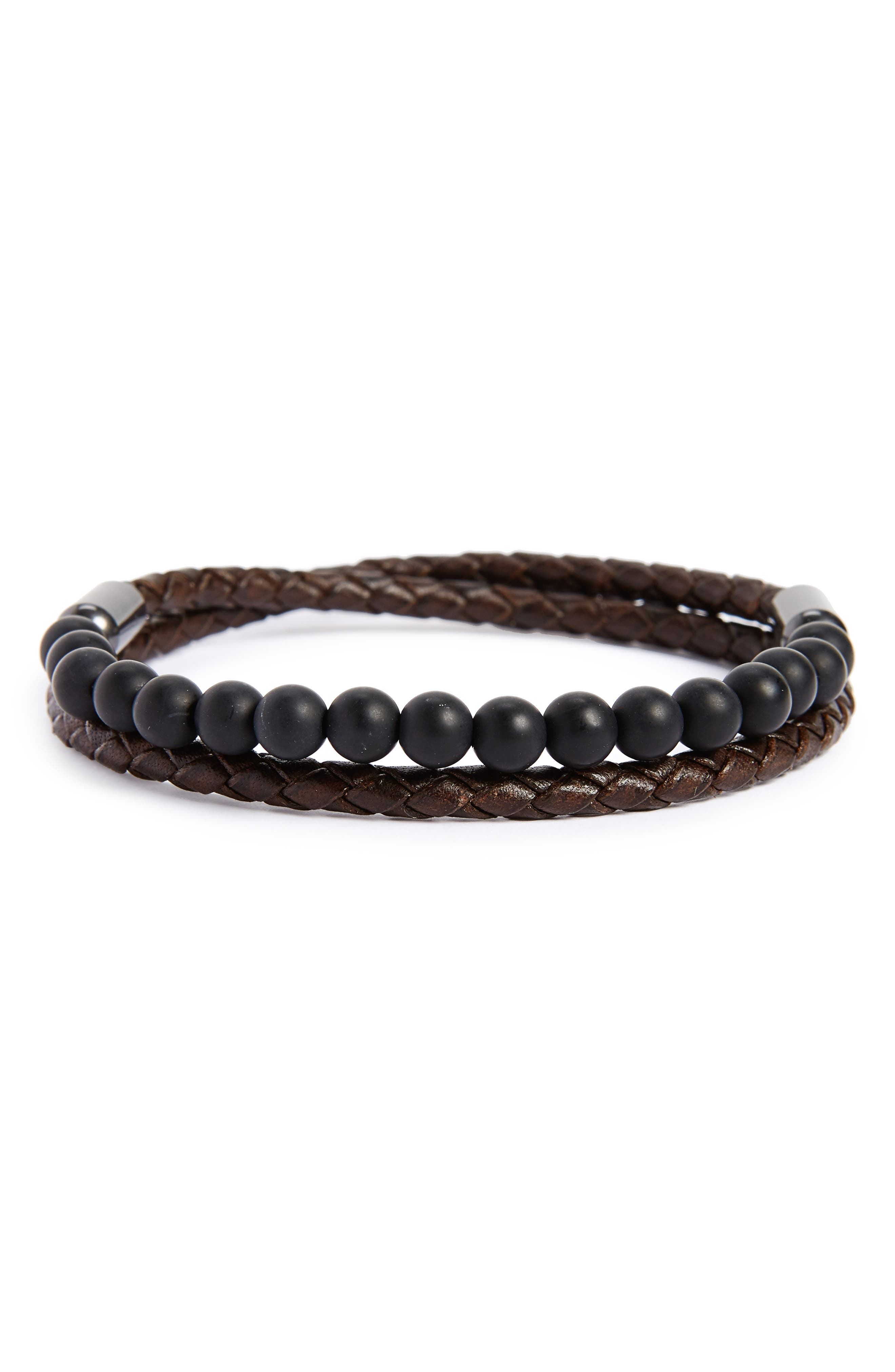 Link Up Leather Wrap Bracelet