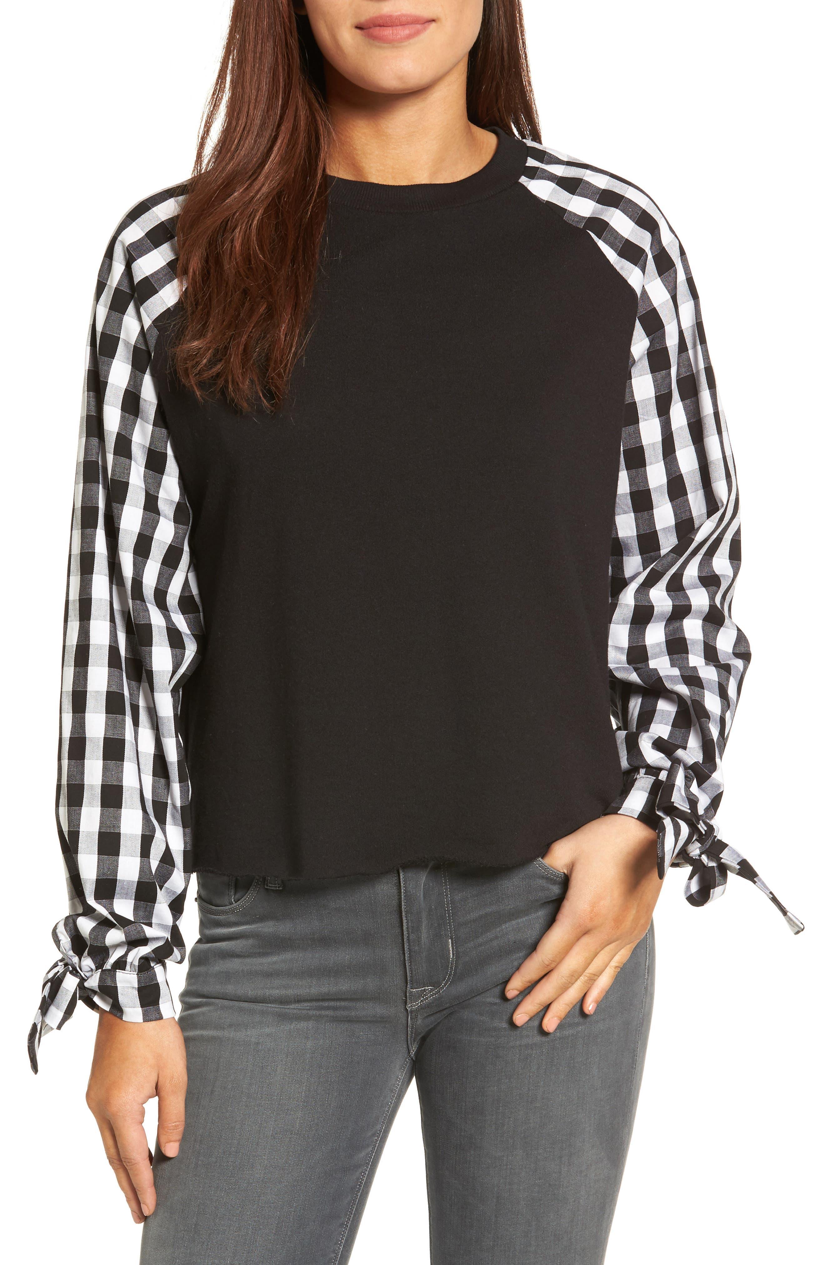 Caslon® Contrast Tie Sleeve Sweatshirt (Regular & Petite)