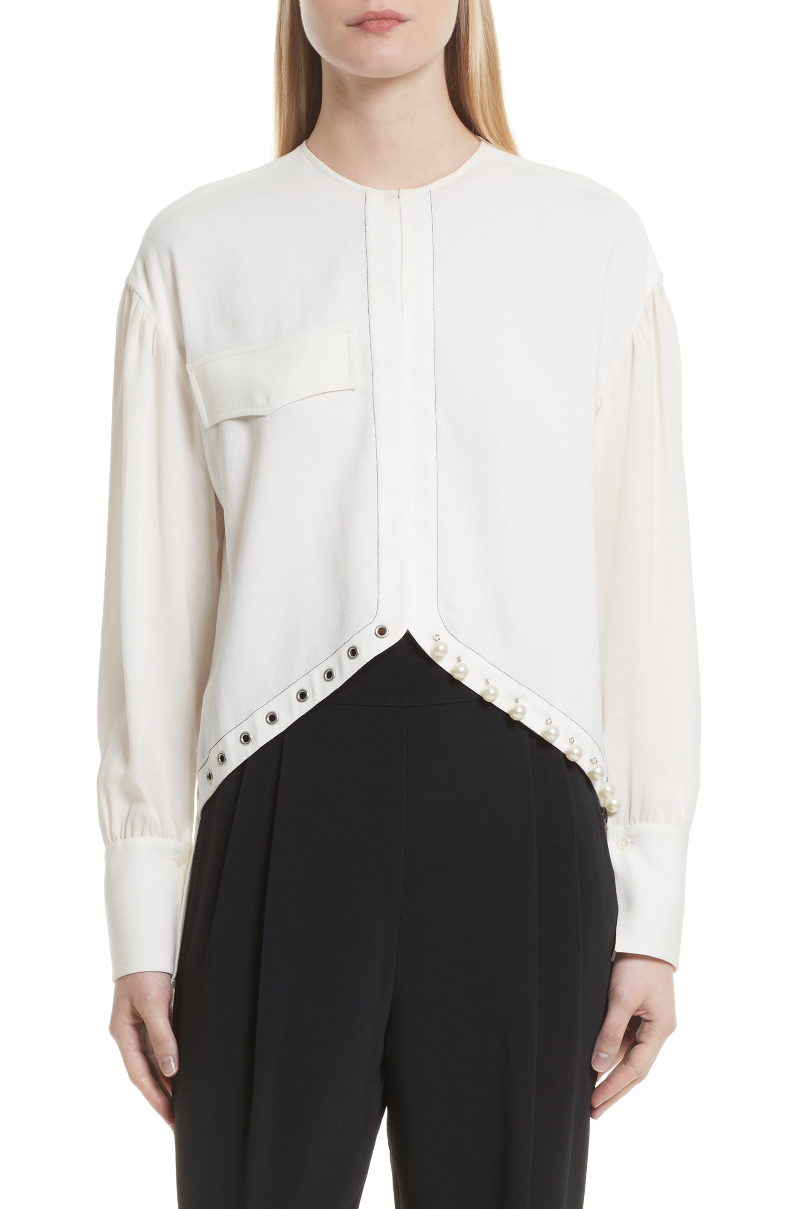 3.1 Phillip Lim Faux Pearl & Grommet Embellished Shirt