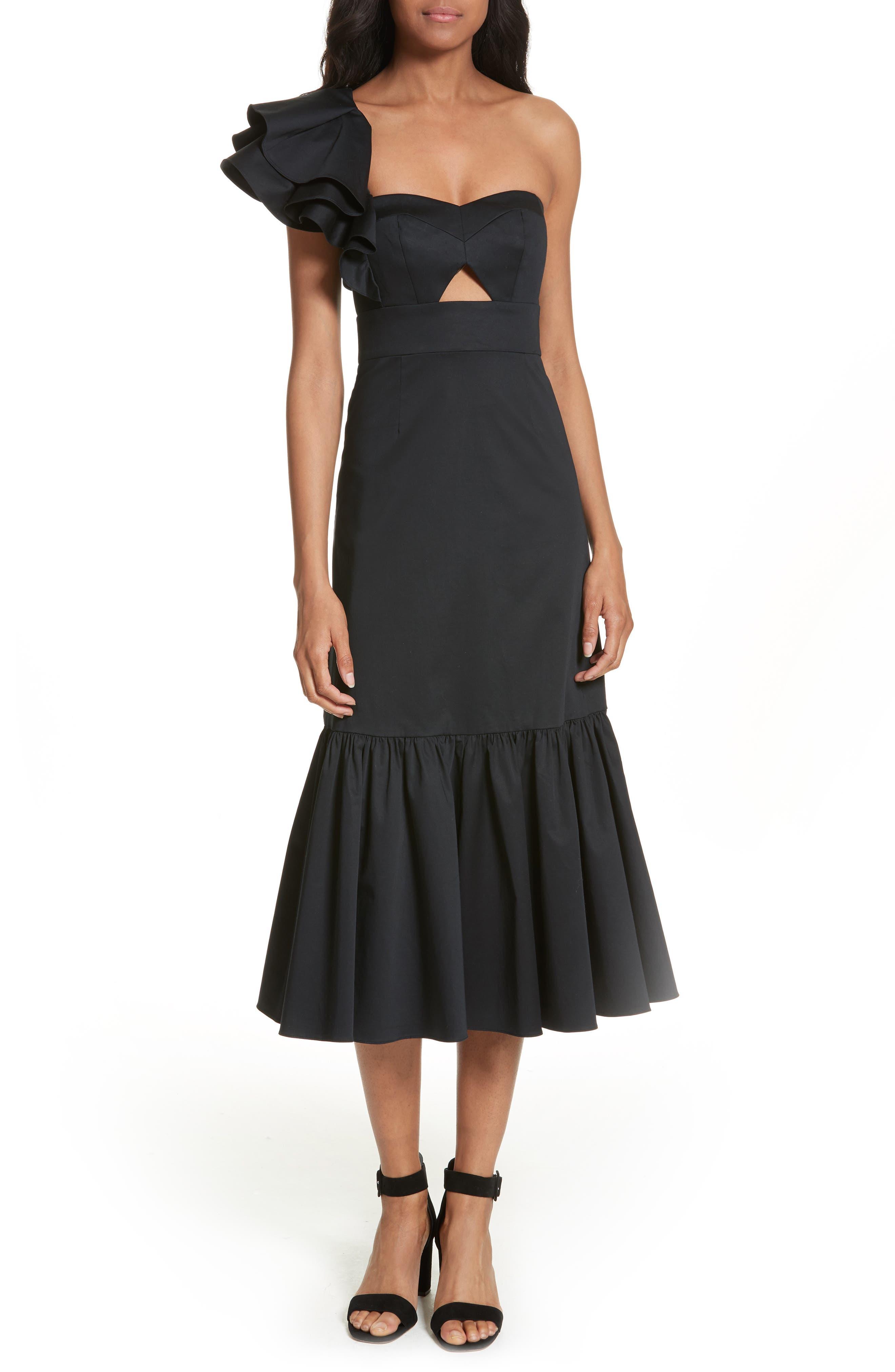Rebecca Taylor Ruffled One-Shoulder Ruffled Midi Dress
