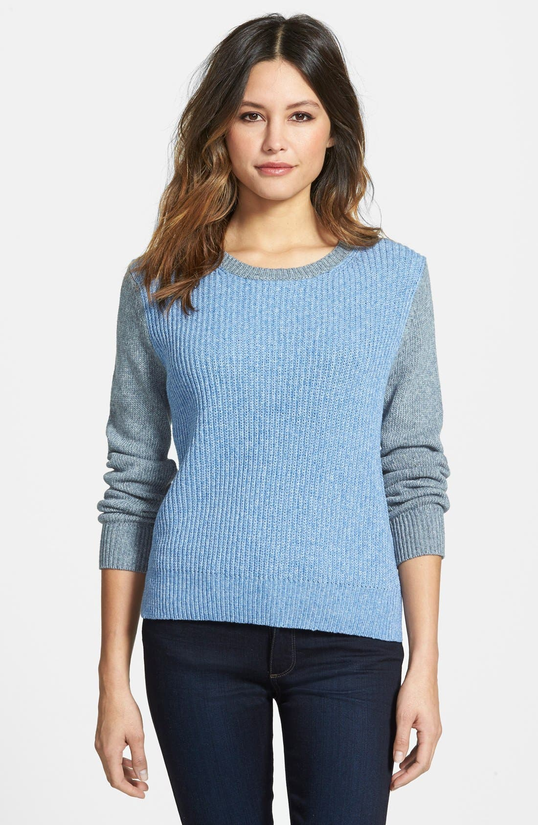 Main Image - Nordstrom Collection Colorblock Ribbed Crewneck Sweater
