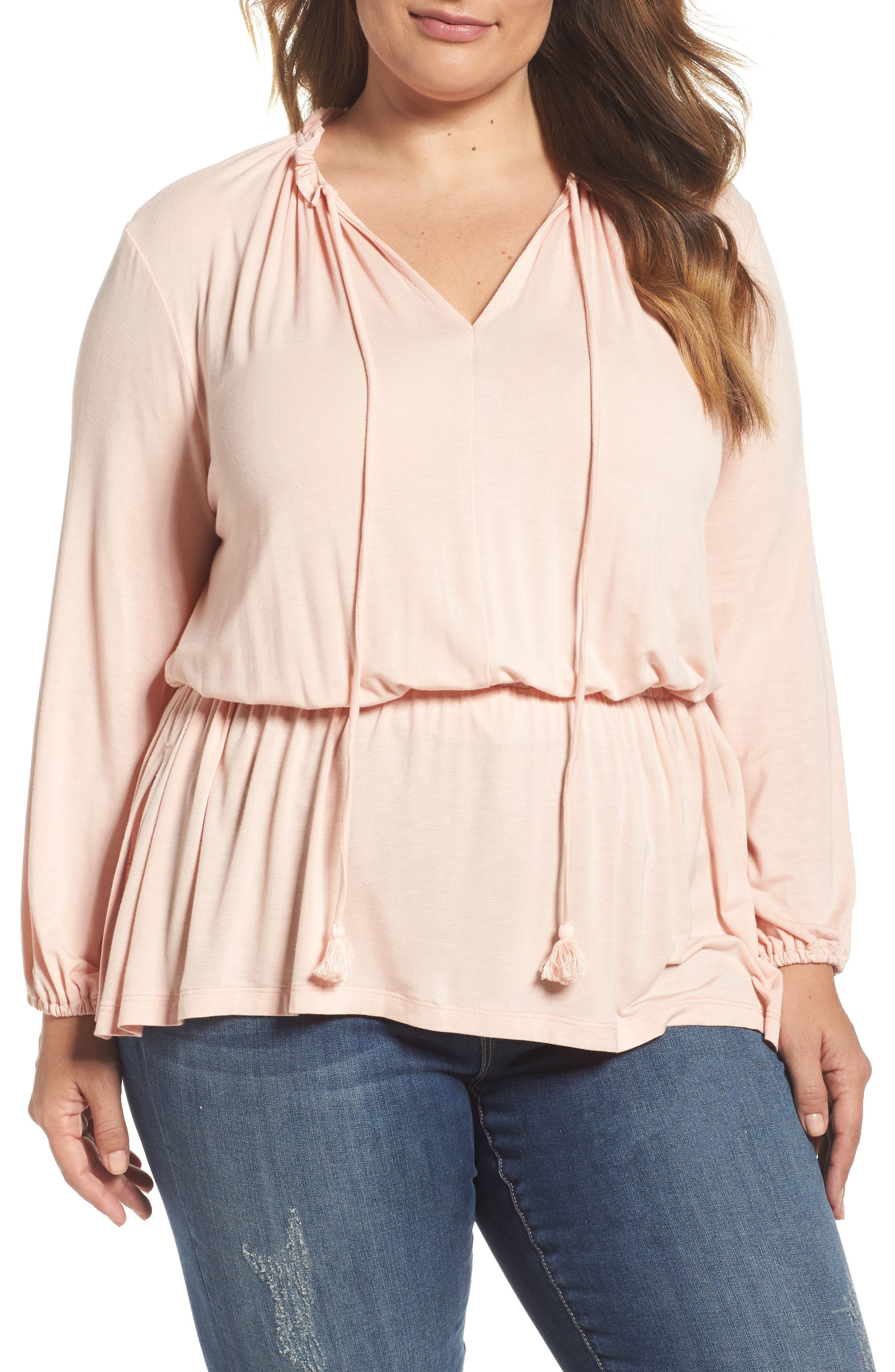 Melissa McCarthy Seven7 Knit Blouson Peasant Top (Plus Size)
