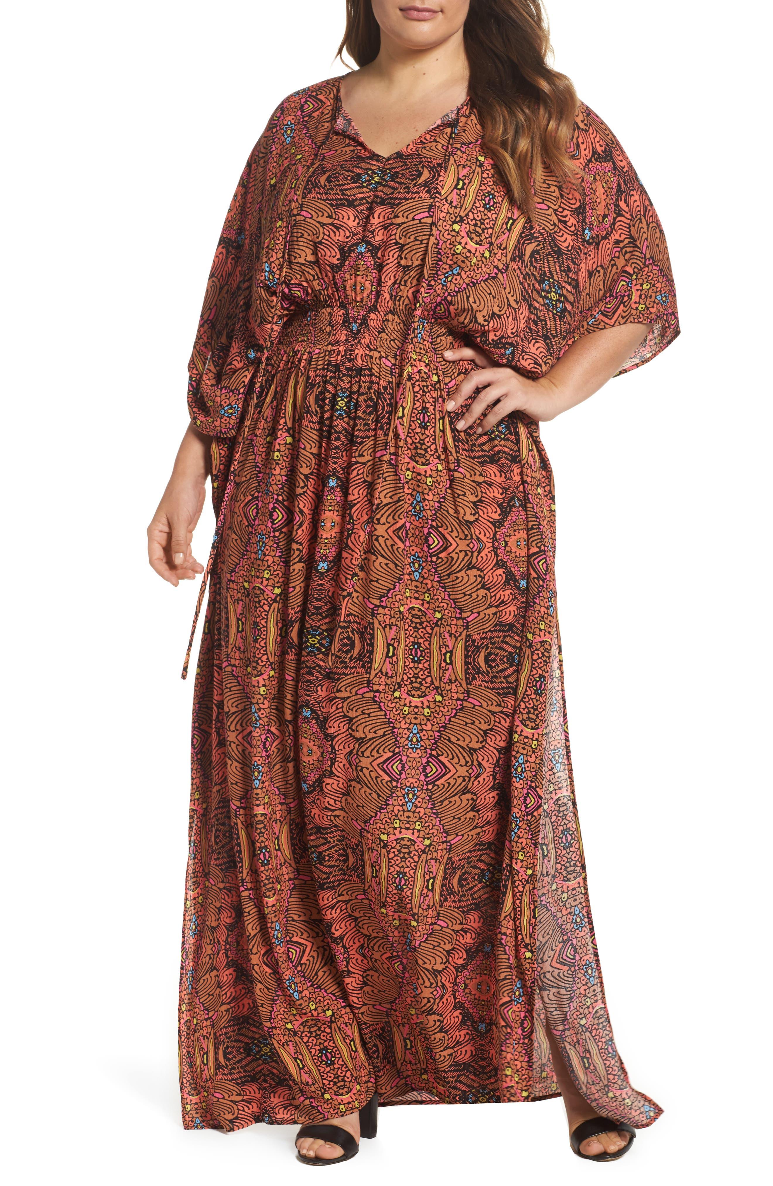Melissa McCarthy Seven7 Print Gauze Maxi Dress (Plus Size)