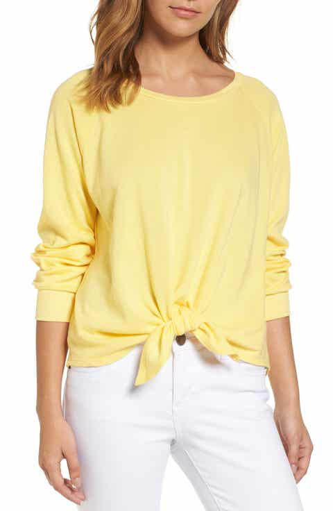 Caslon® Tie Front Cotton Blend Sweatshirt (Regular   Petite)