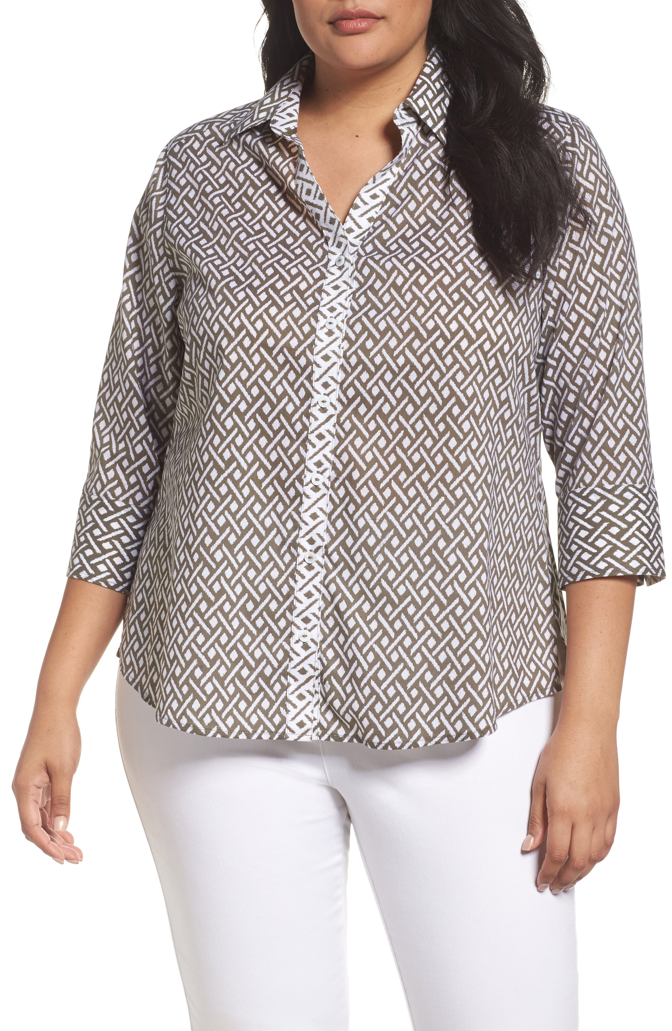 Foxcroft Mary Ikat Geo Print Shirt (Plus Size)