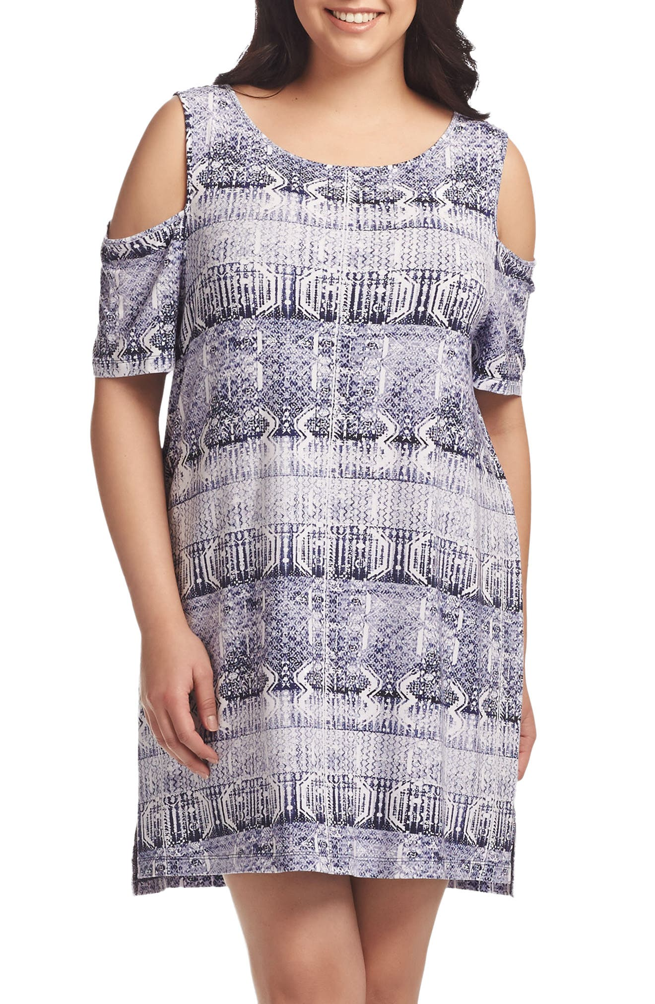 Tart Tabitha Print Cold Shoulder Shift Dress (Plus Size)