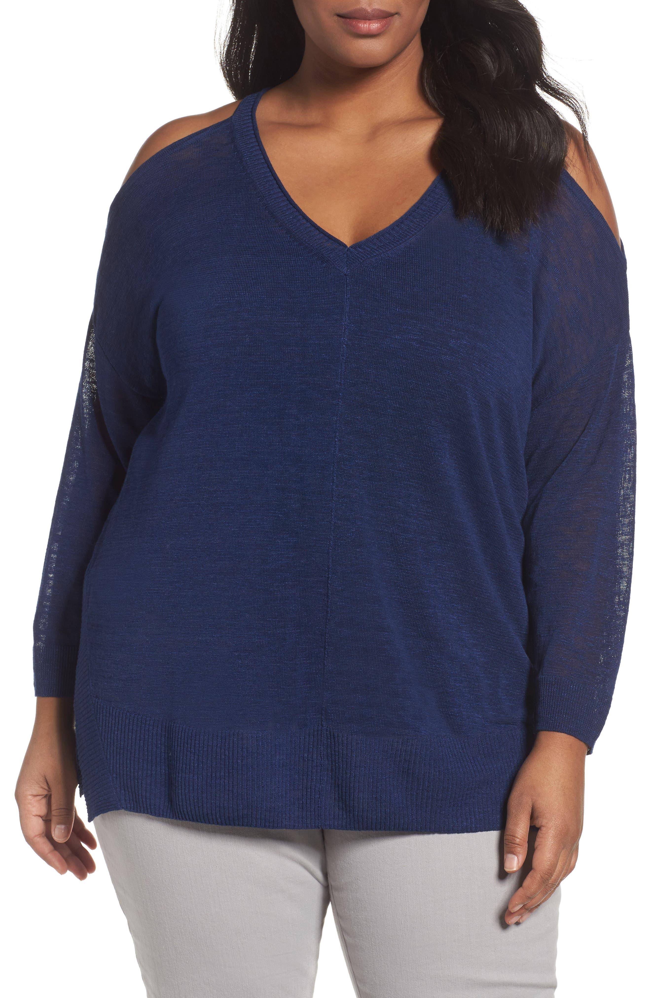 Sejour Cold Shoulder Sweater (Plus Size)