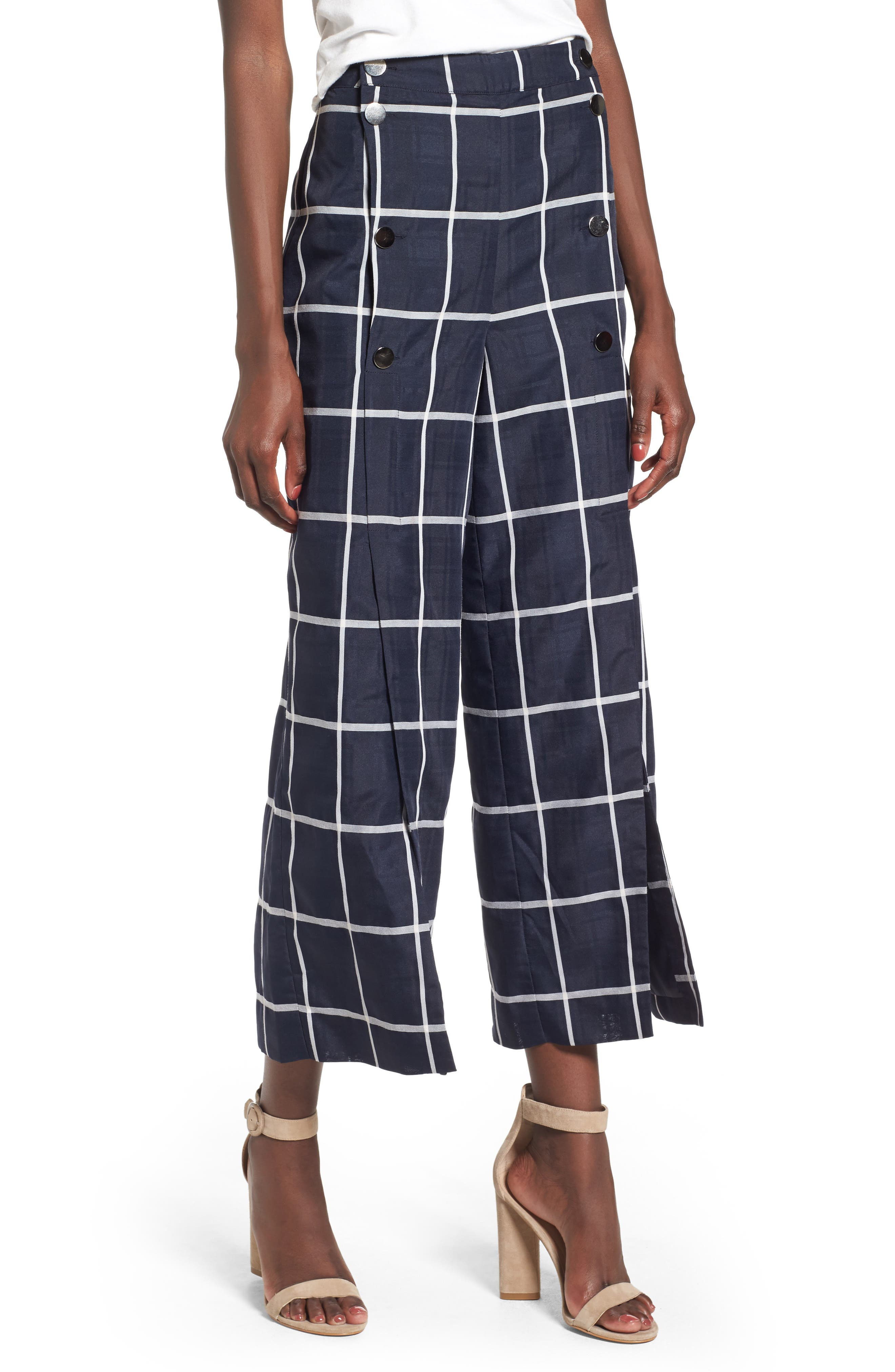 J.O.A. Checkered Wide Leg Pants