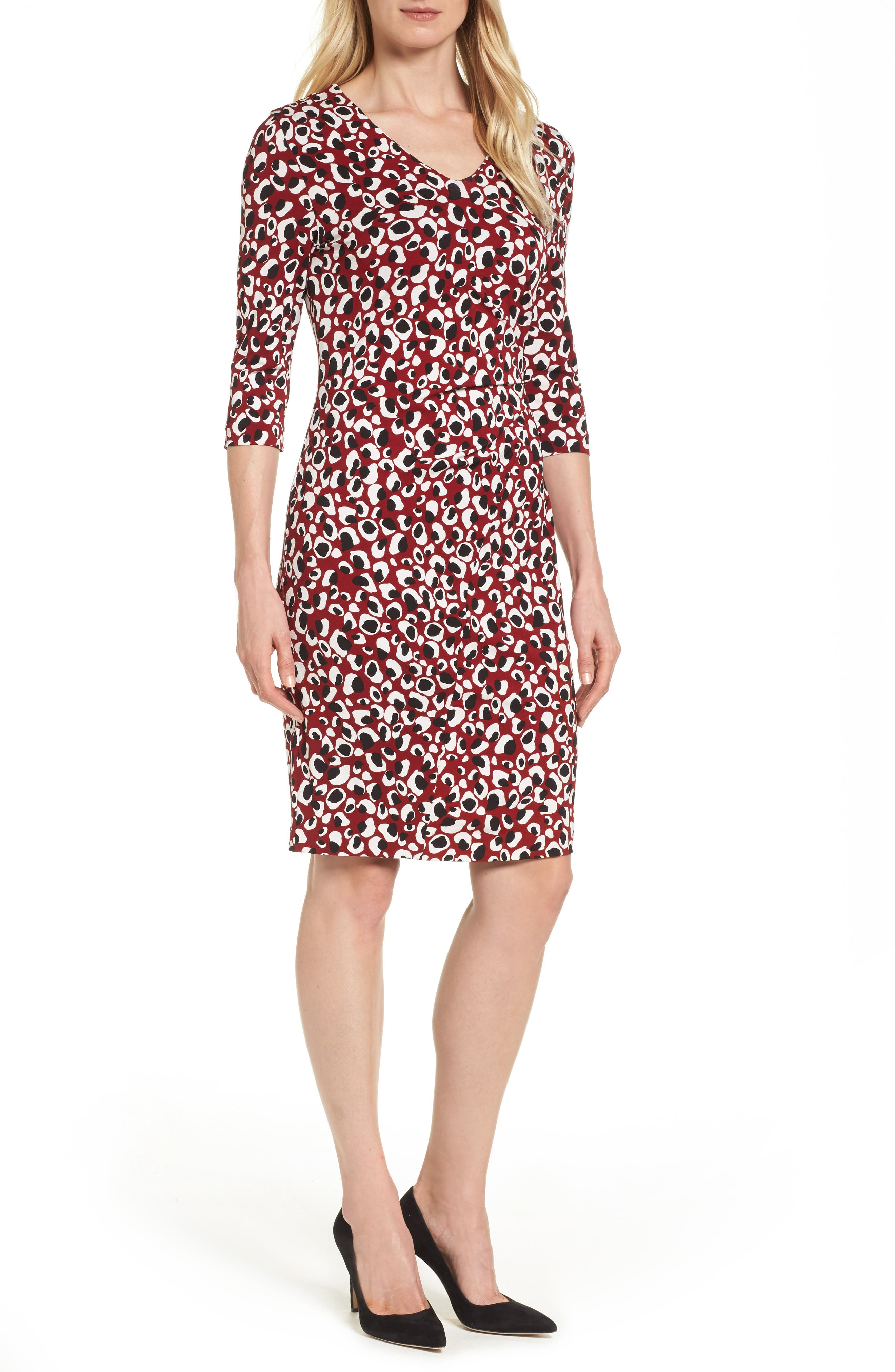 BOSS Epona Print Crepe Sheath Dress