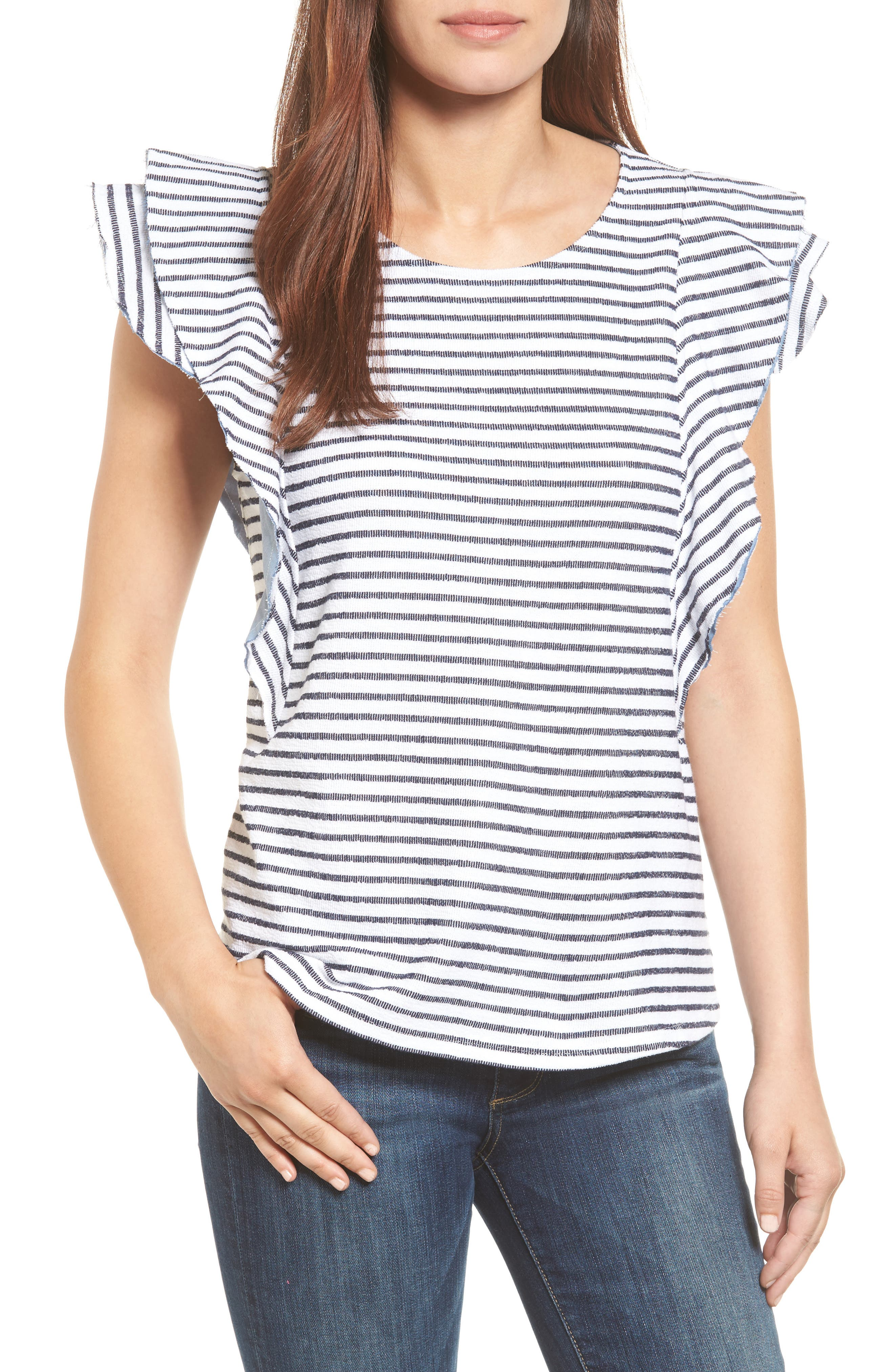 Caslon® Ruffle Sleeve French Terry Tee