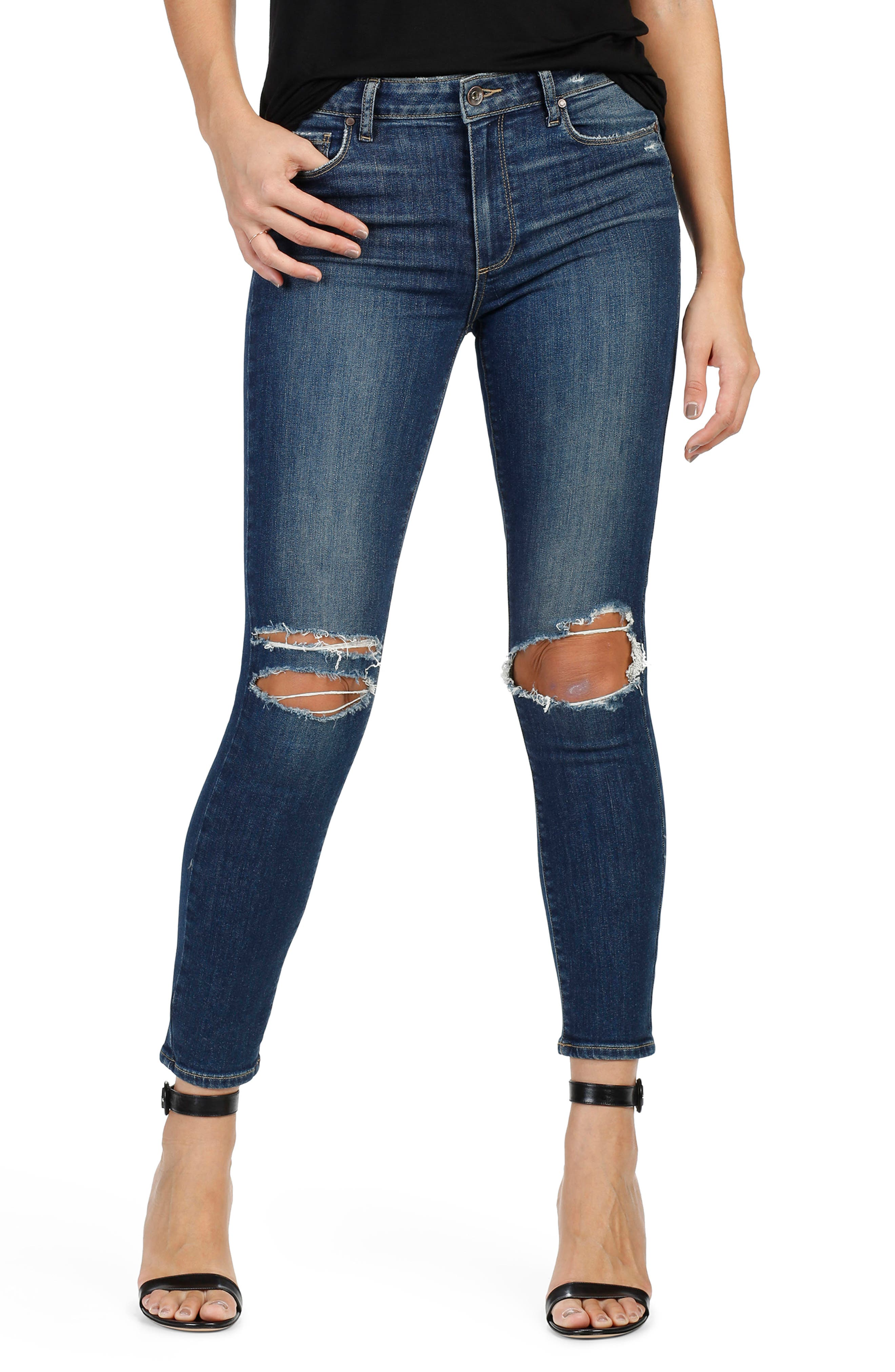 PAIGE Hoxton High Waist Ankle Peg Skinny Jeans (Emmett Destructed)
