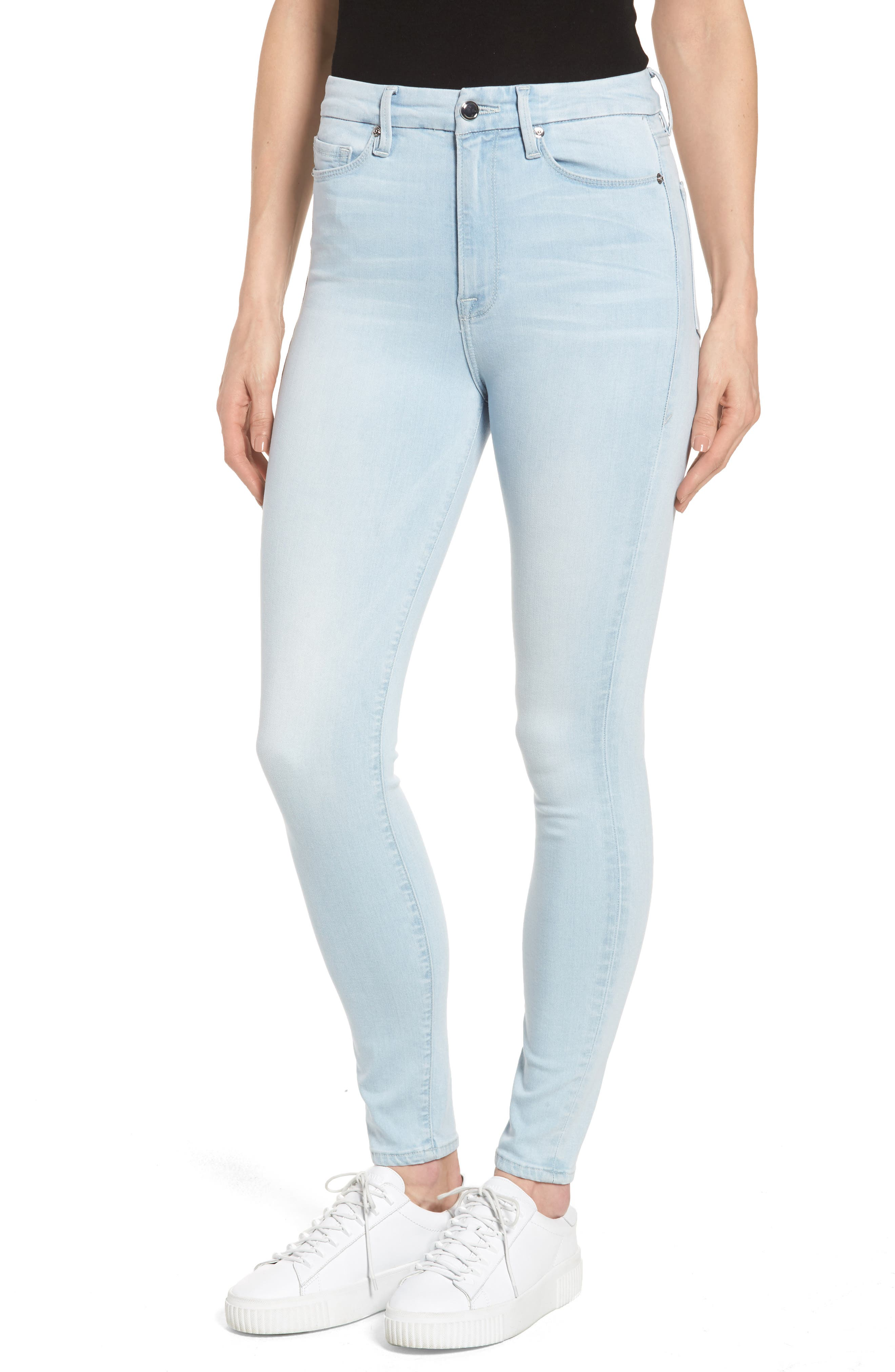 Alternate Image 1 Selected - Good American Good Waist High Waist Crop Skinny Jeans