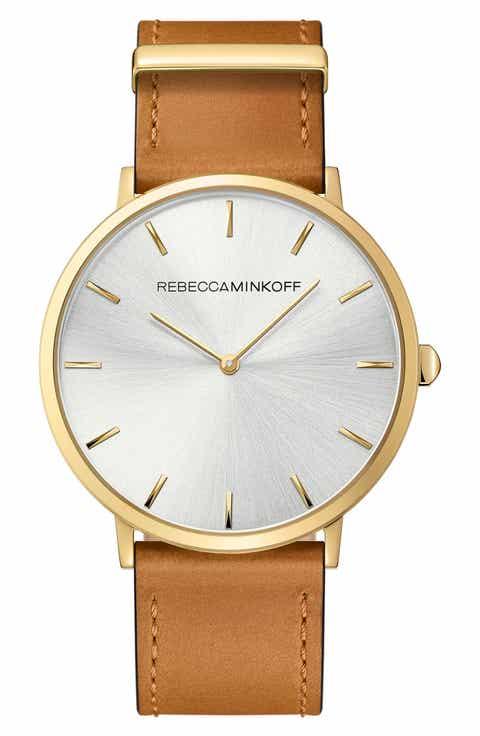 Rebecca Minkoff Major Leather Strap Watch, 40mm