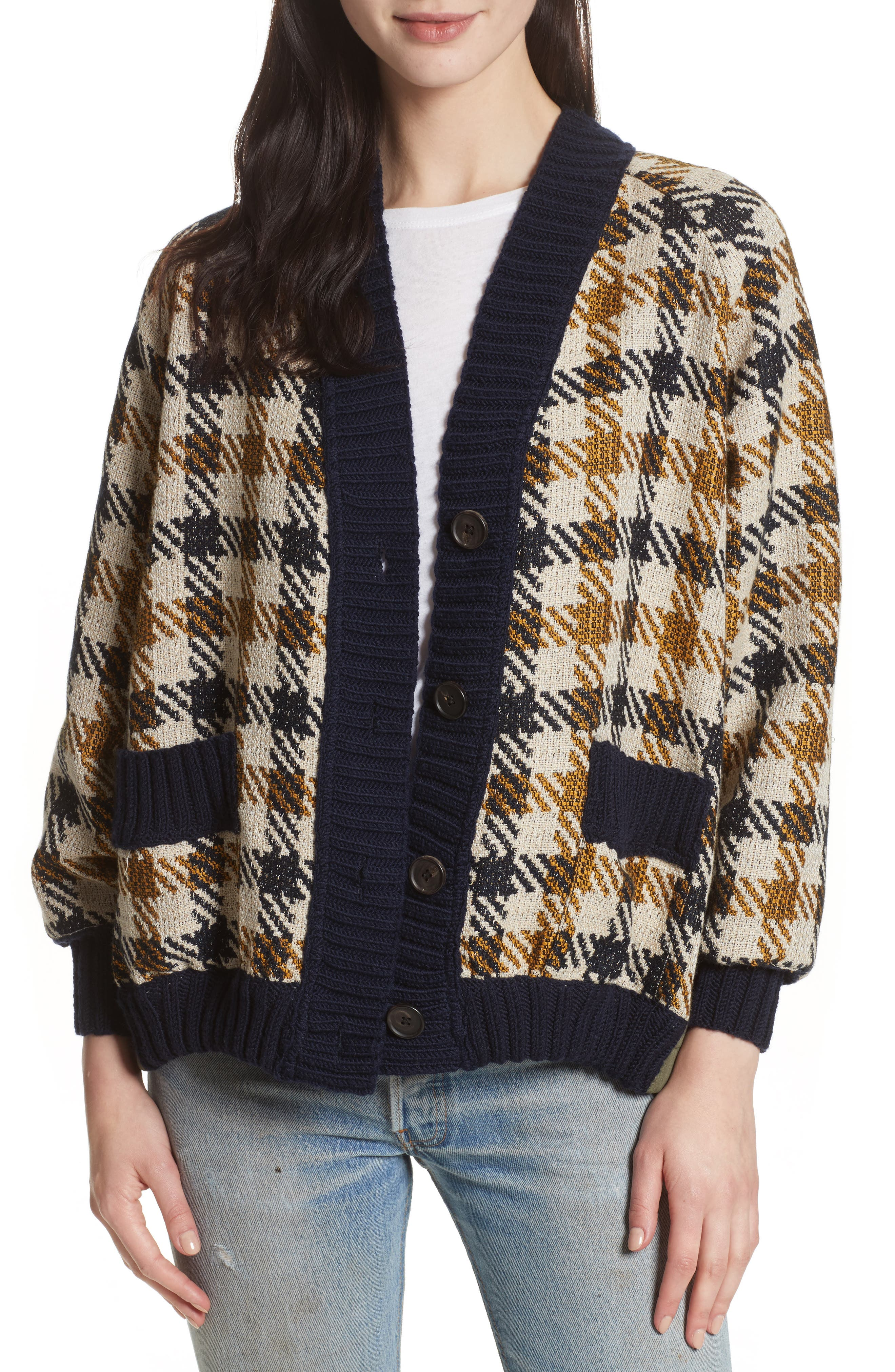 Sea Houndstooth Boyfriend Cardigan
