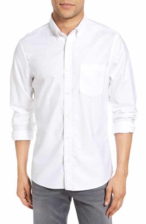 Nordstrom Men's Shop Trim Fit Washed Oxford Shirt