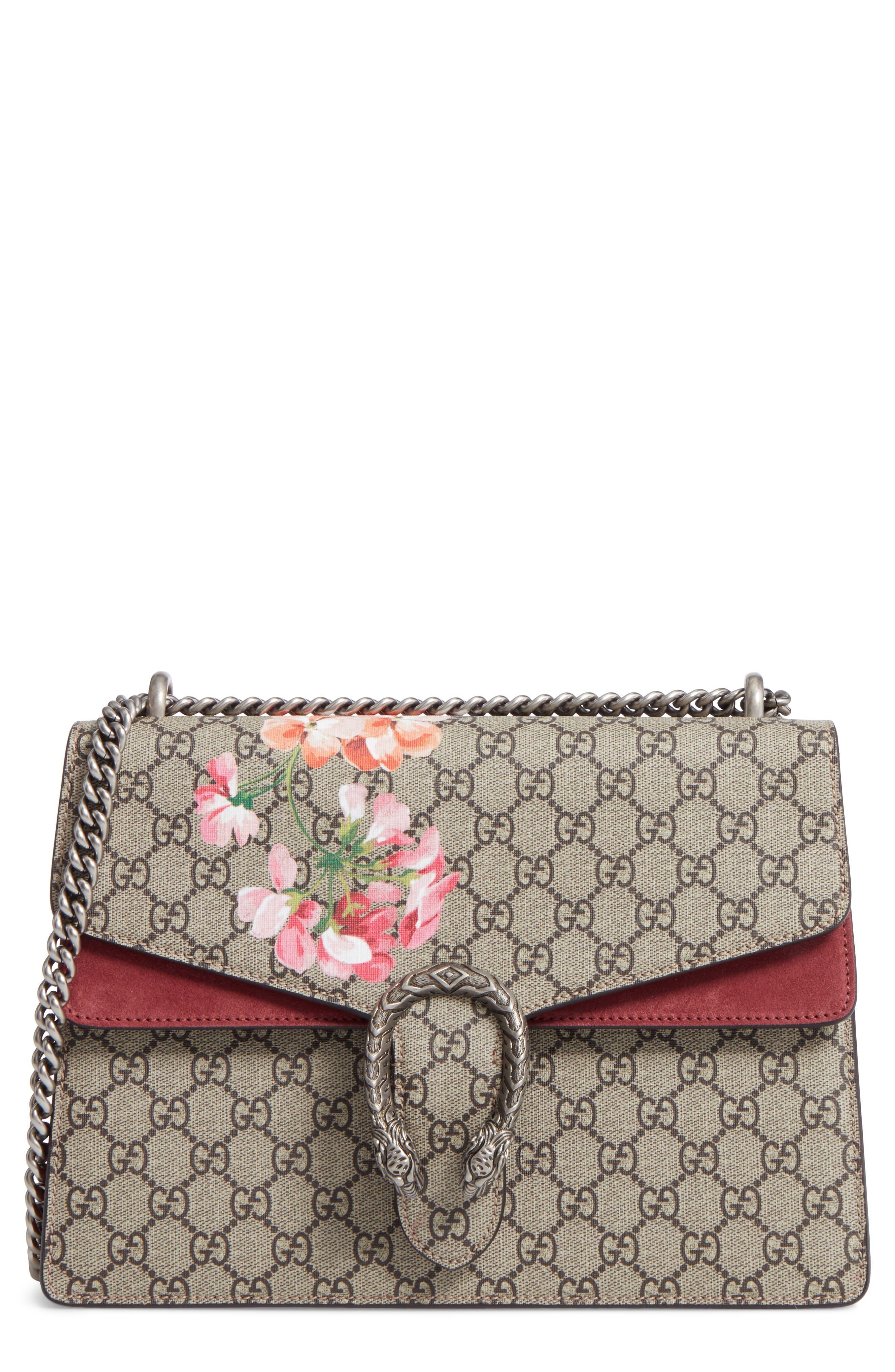 Gucci Large Floral GG Supreme Canvas & Suede Shoulder Bag