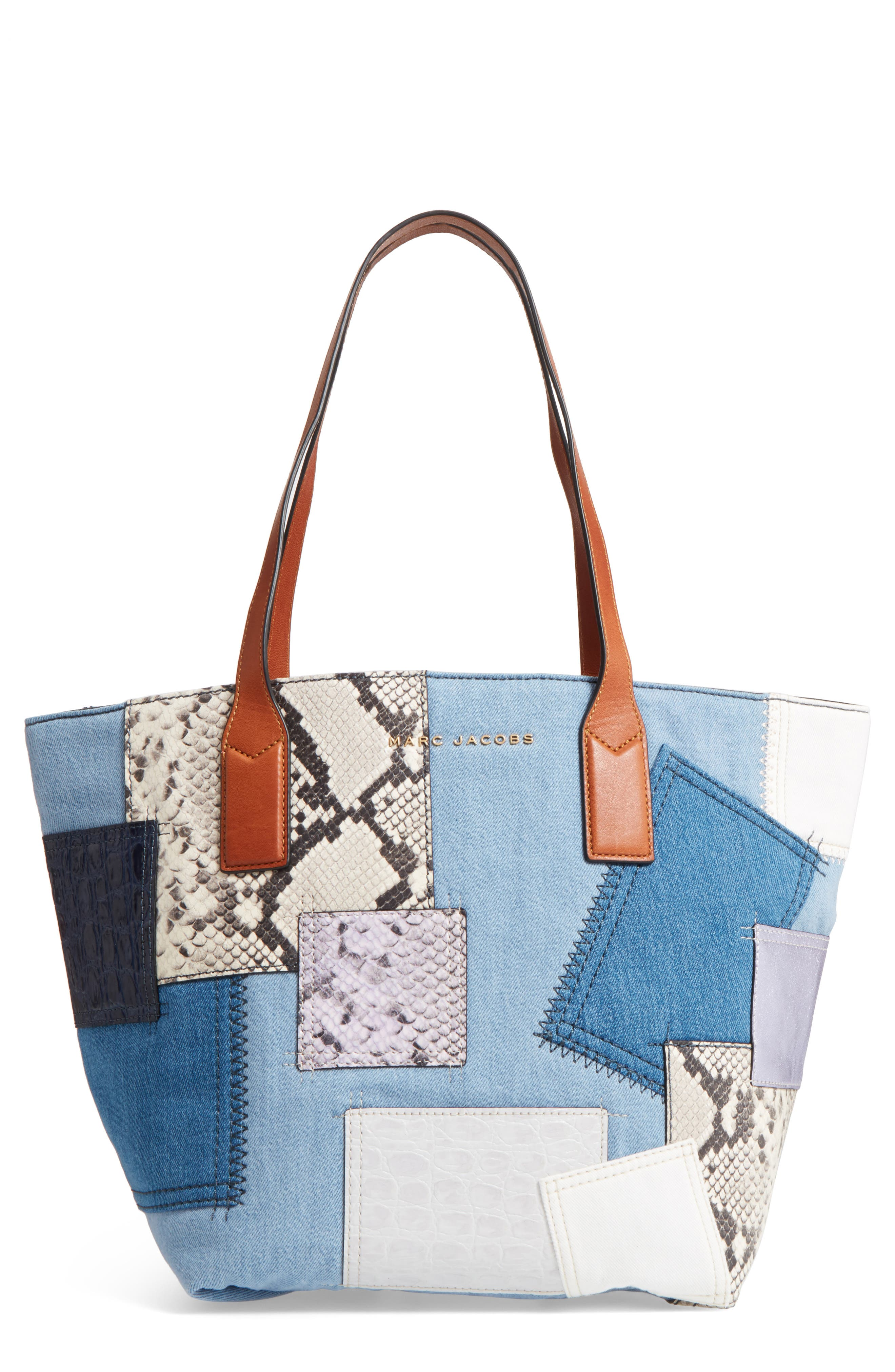 Main Image - MARC JACOBS Wingman Denim Patchwork Tote