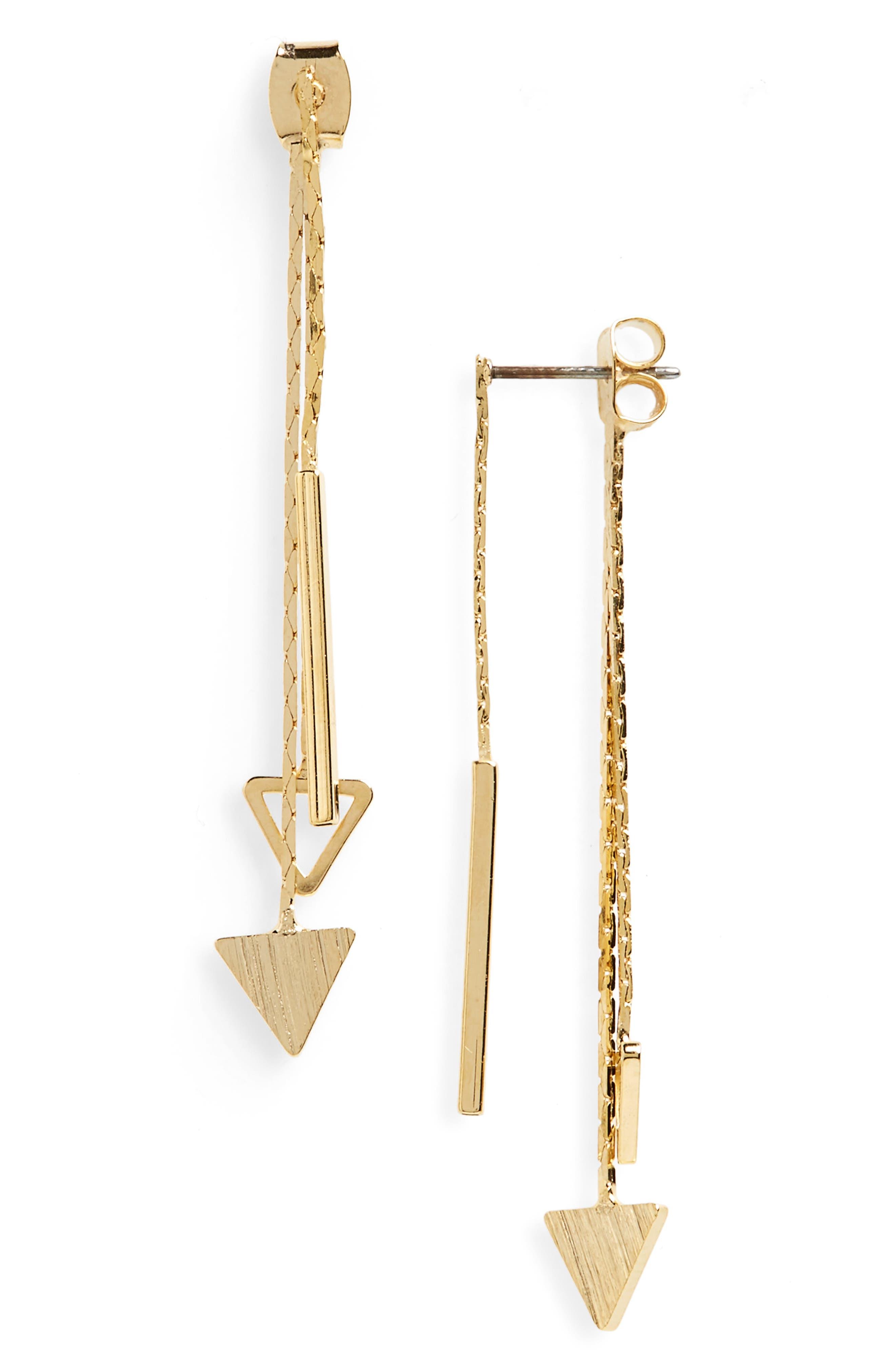 Panacea Linear Triangle Drop Back Earrings