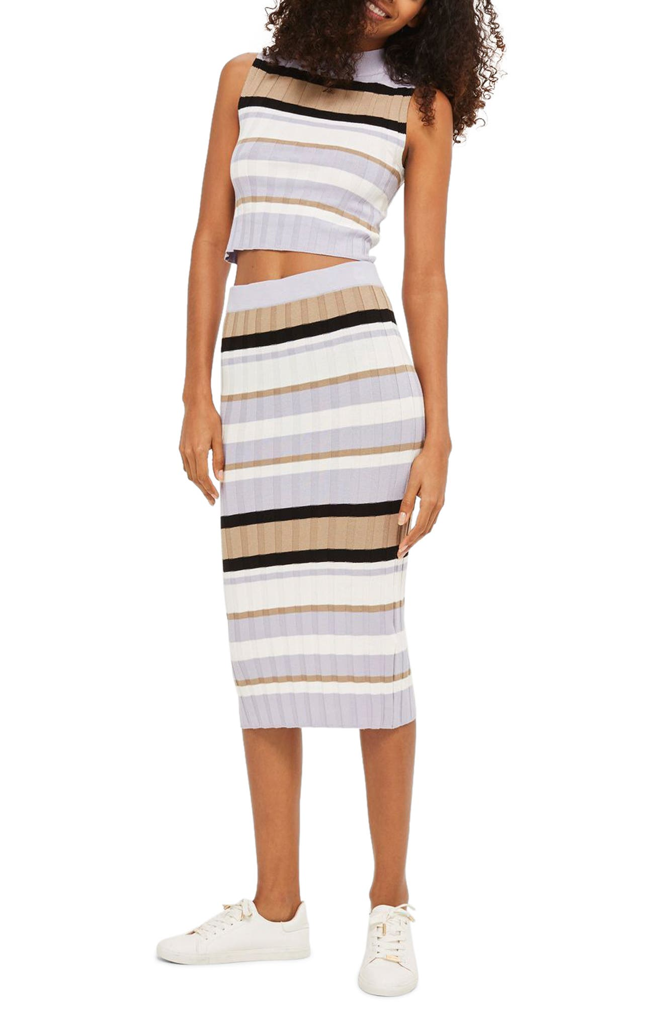 Topshop Stripe Knit Midi Skirt