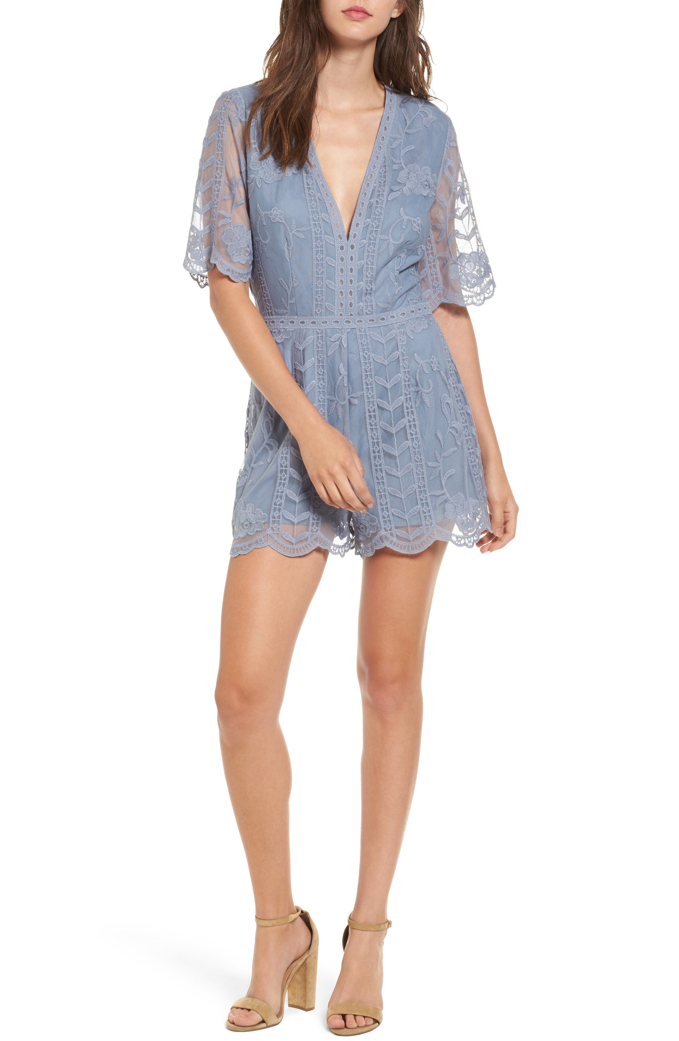 Alternate Image 1 Selected - Socialite Plunging Lace Romper