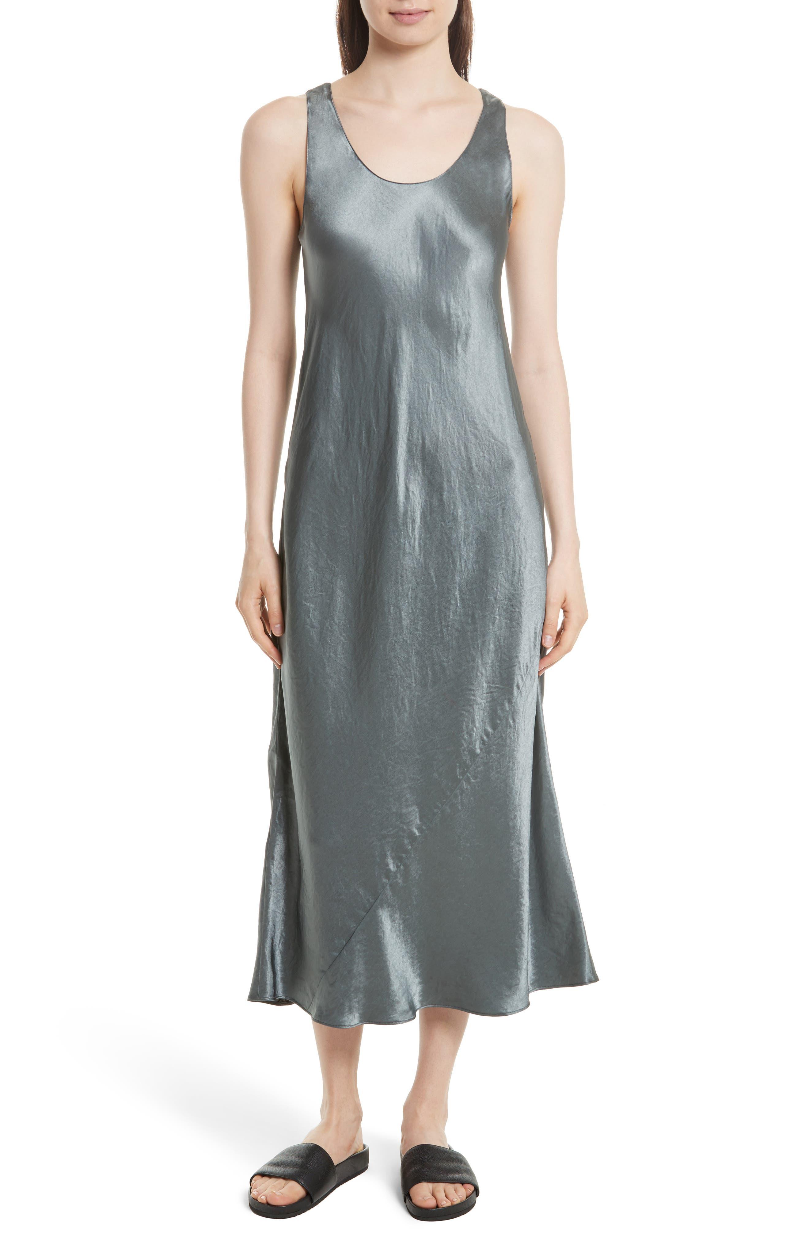 Vince Bias Cut Satin Midi Dress