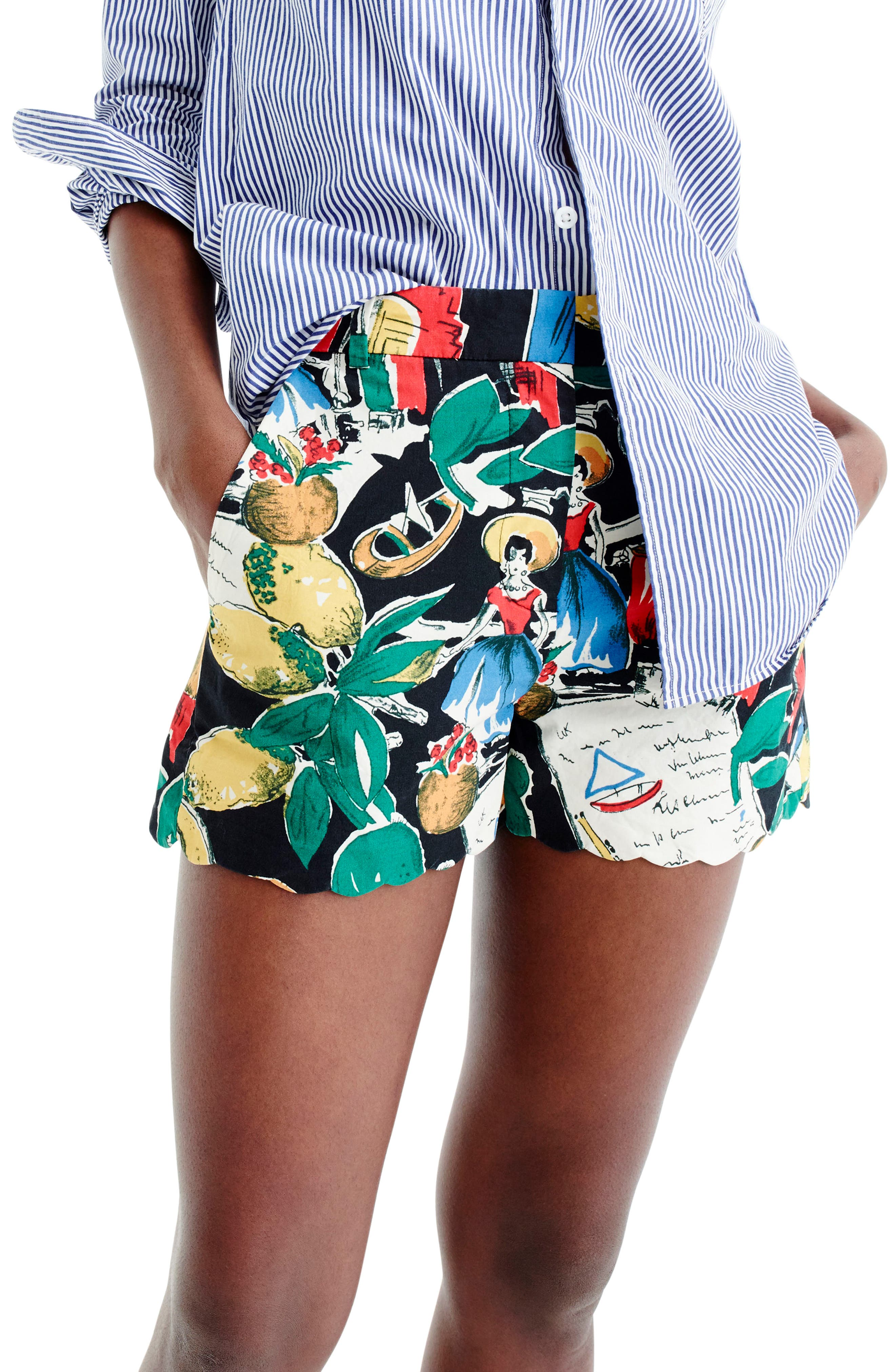 J.Crew Postcard Print High Waist Shorts