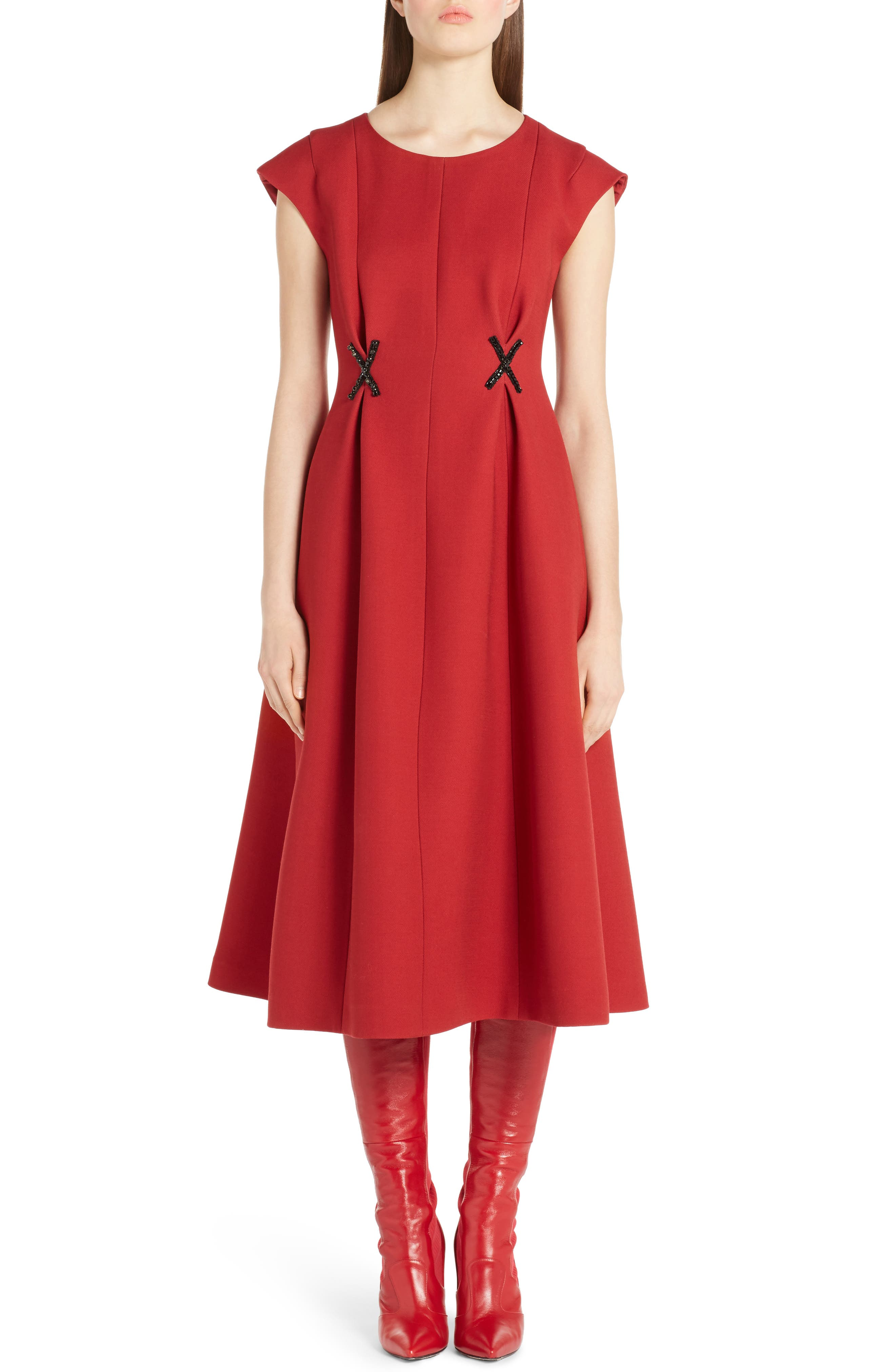 Fendi Beaded Wool & Silk Dress