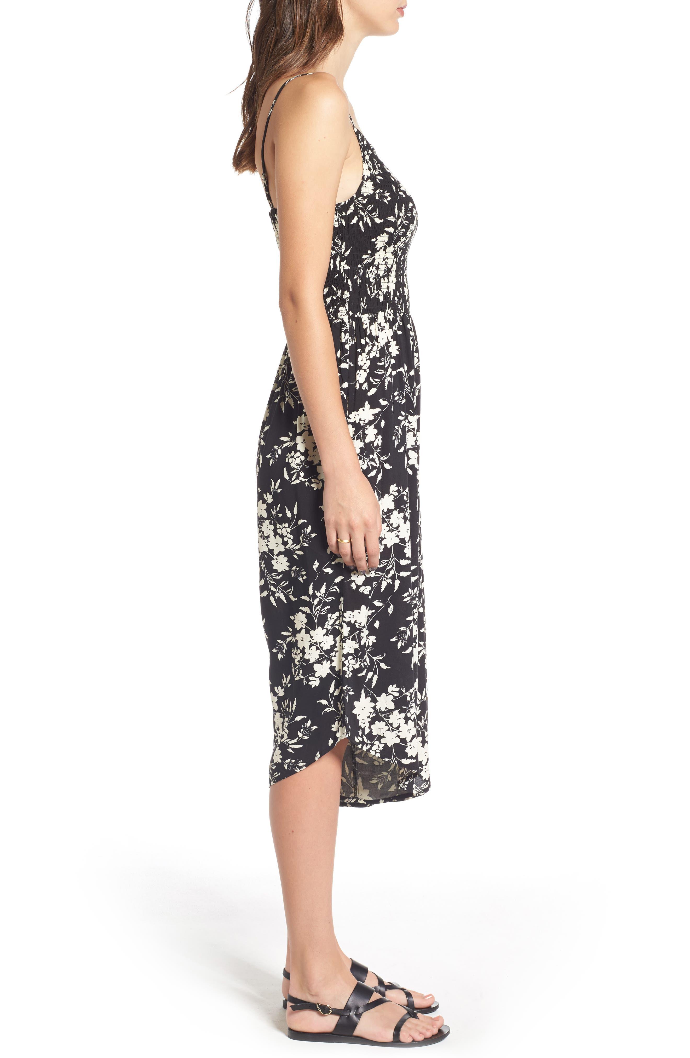 Alternate Image 3  - Mimi Chica Smocked Floral Jumpsuit