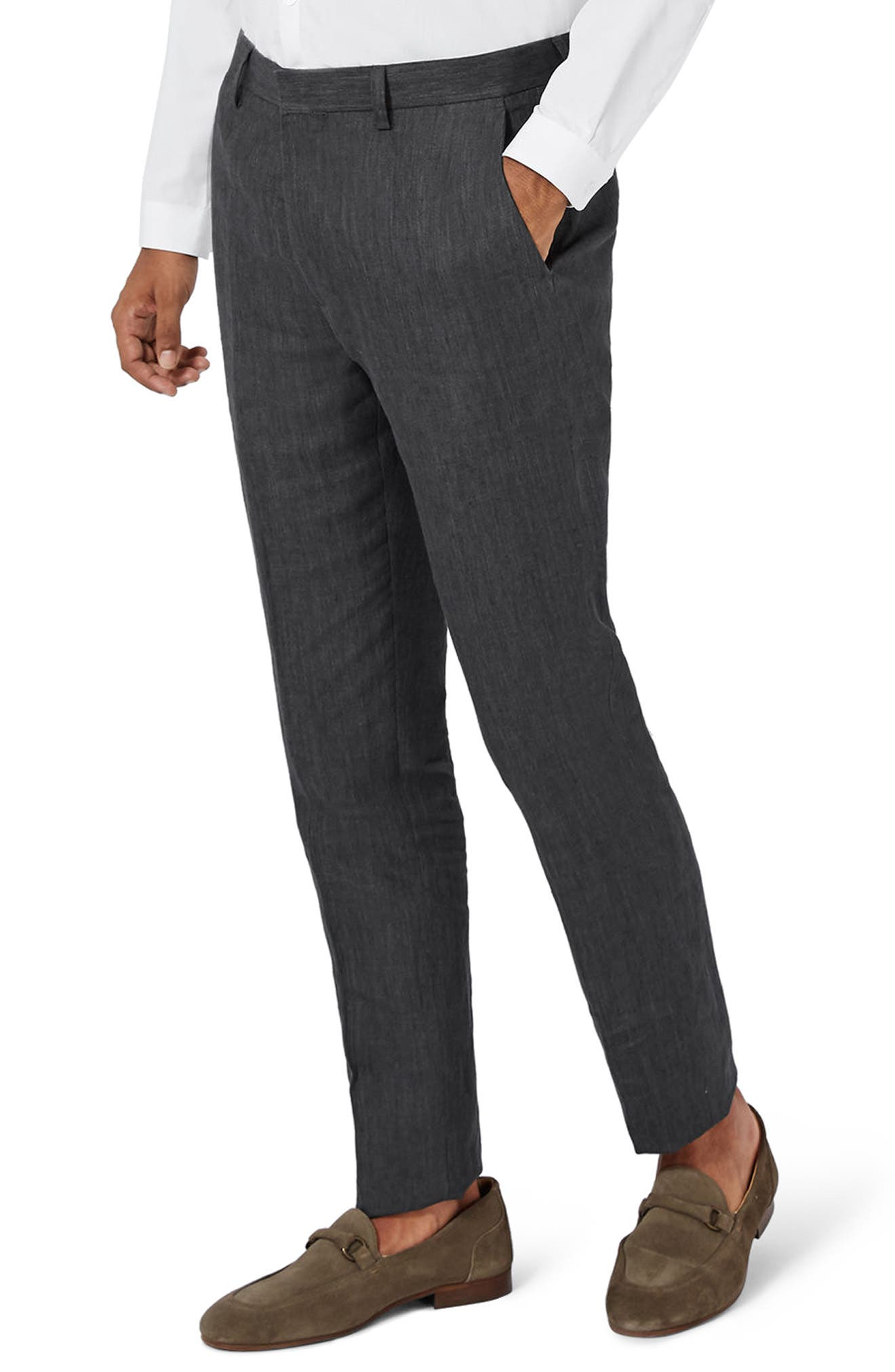 Topman Skinny Fit Linen Suit Trousers