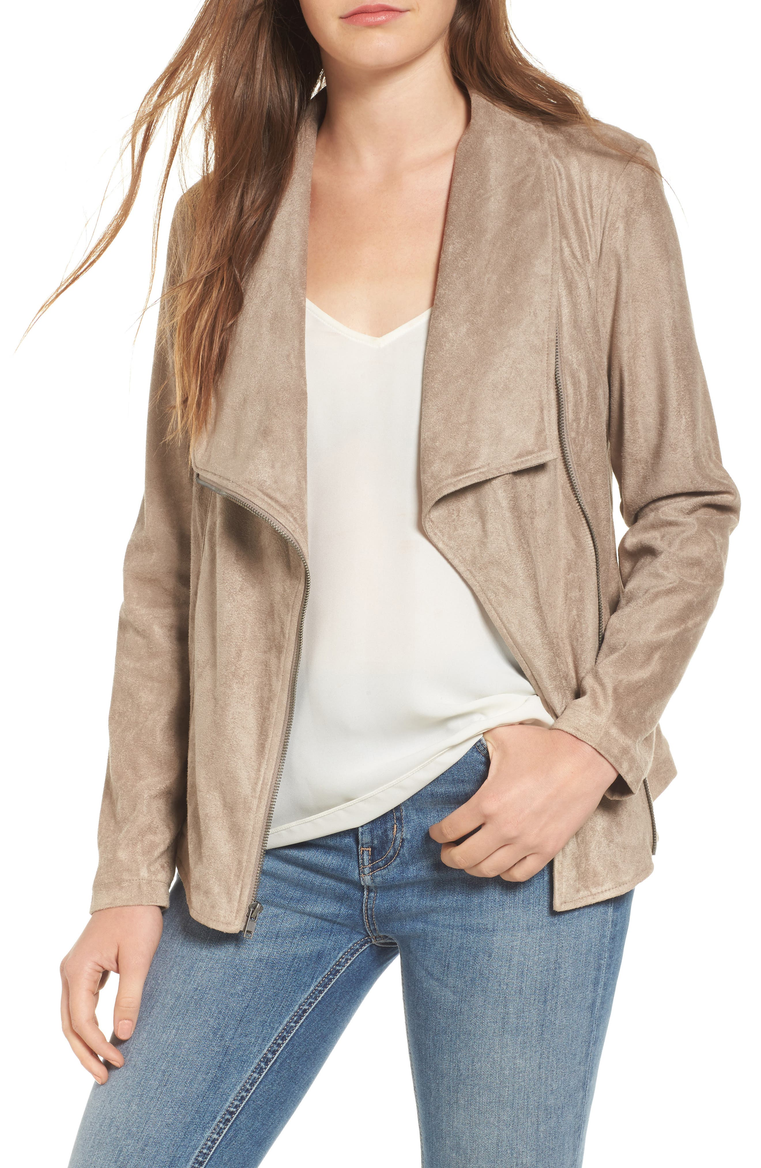 cupcakes and cashmere Finleigh Faux Suede Moto Jacket
