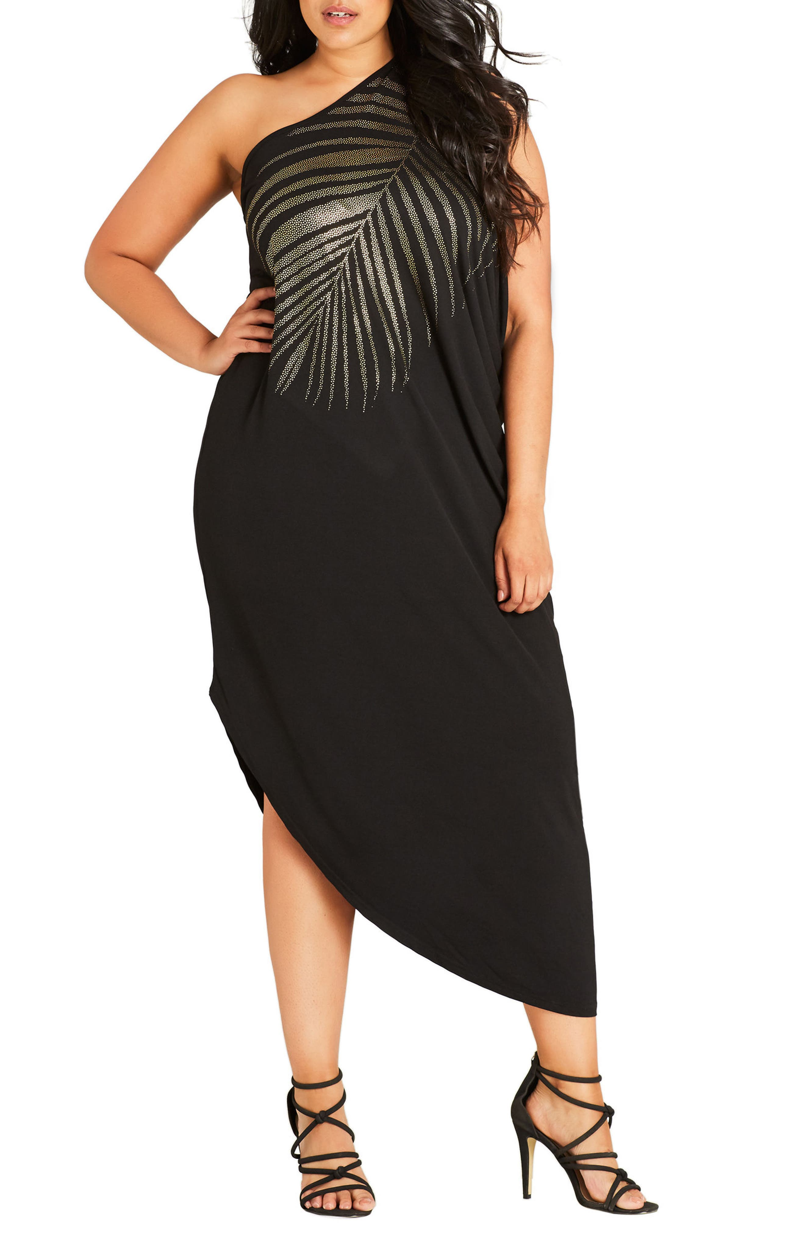 City Chic Shimmer Palm One-Shoulder Maxi Dress (Plus Size)