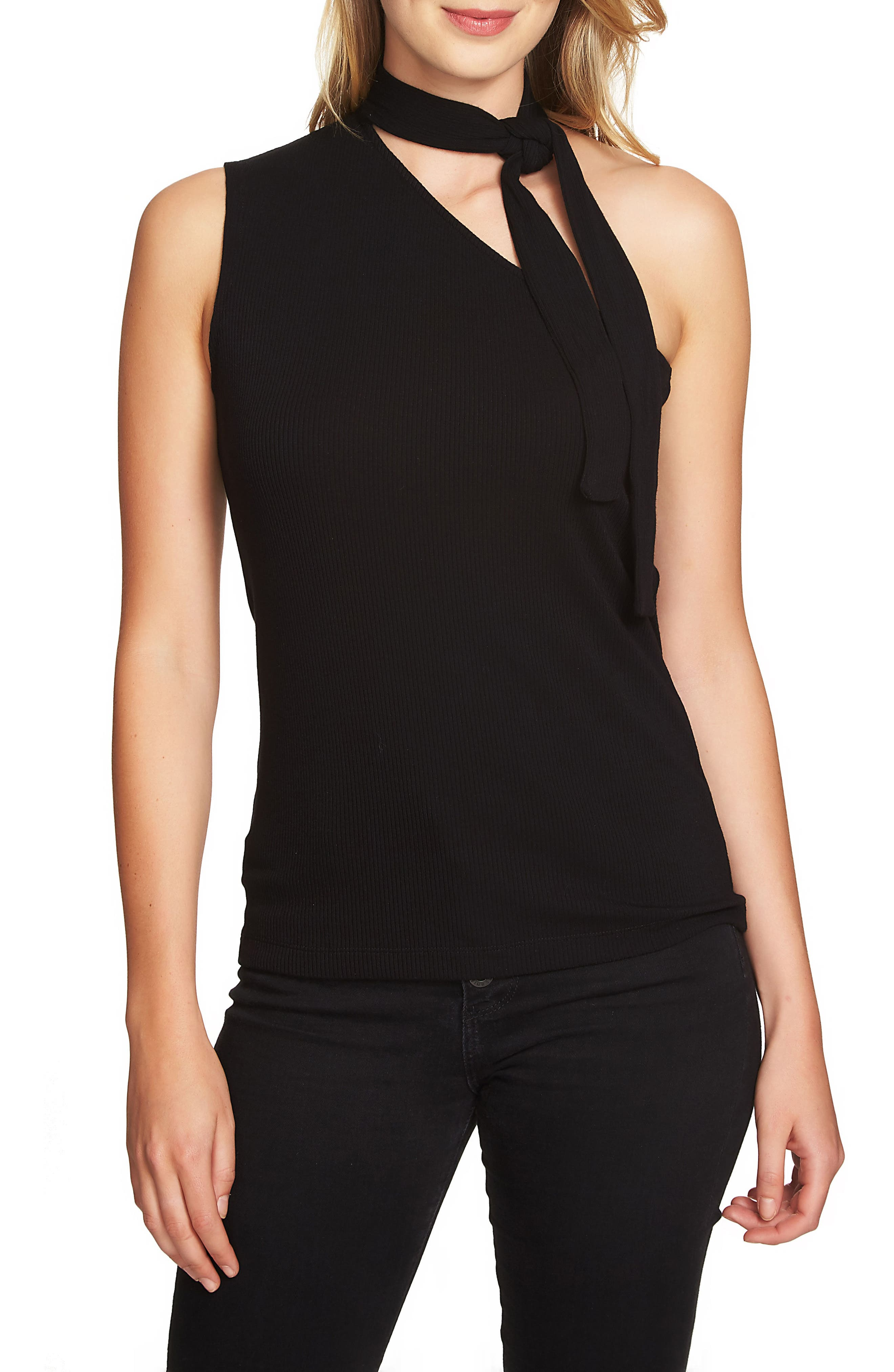 1.STATE Tie Neck One-Shoulder Top