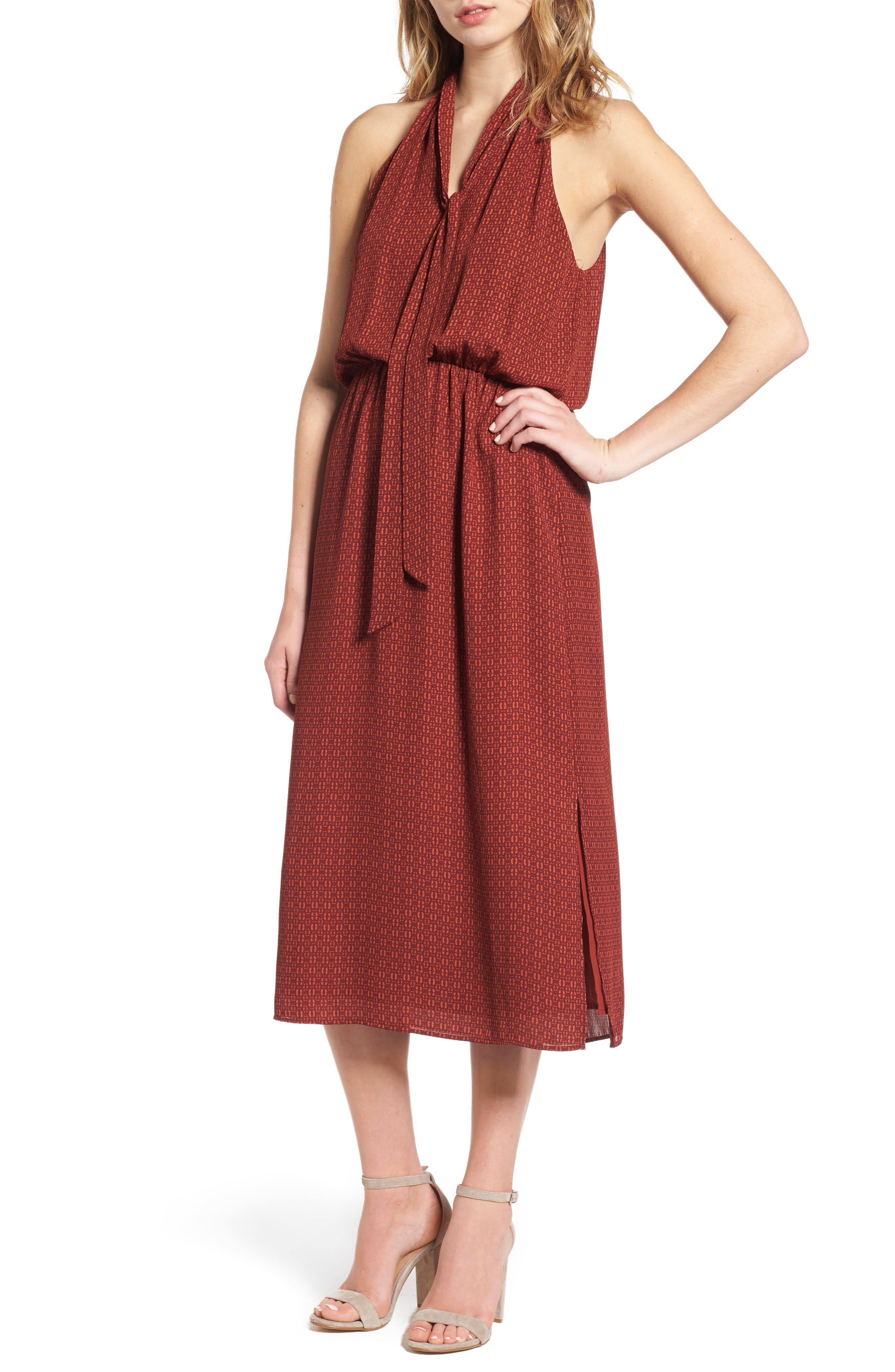 Everly Tie Neck Midi Dress