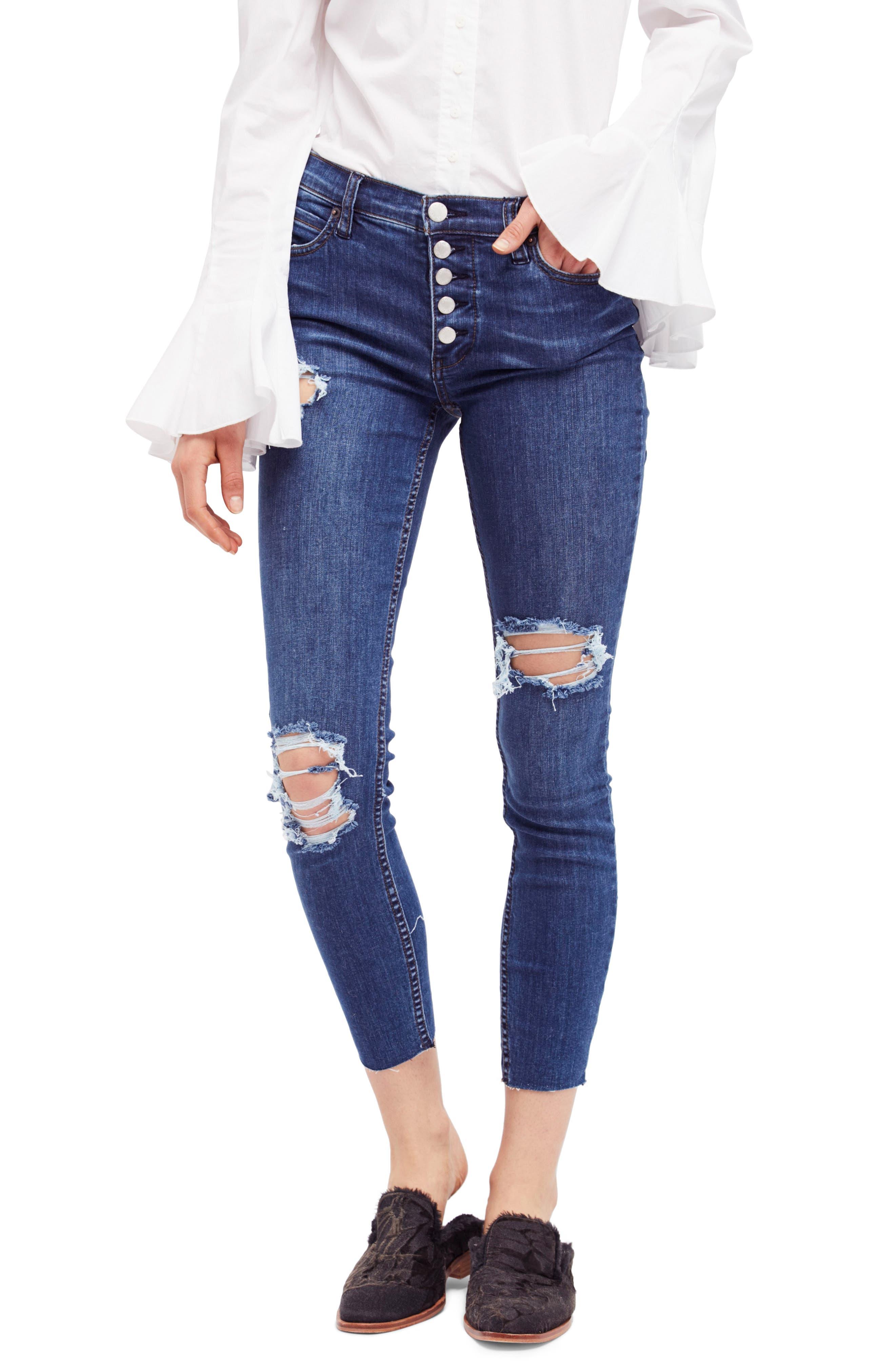 Free People Reagan Destroyed Crop Skinny Jeans