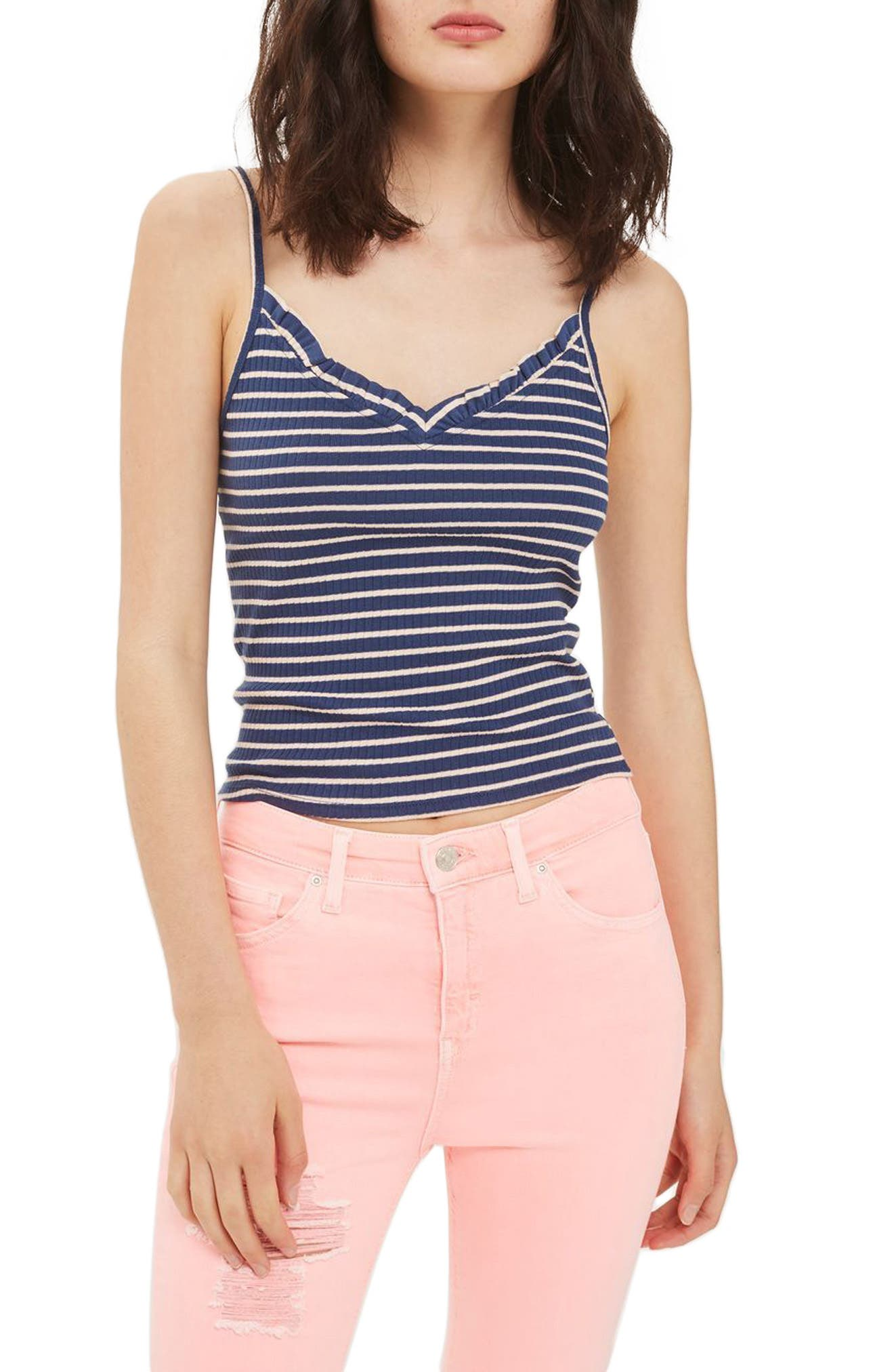 Topshop Ivy Ruffle Stripe Ribbed Camisole