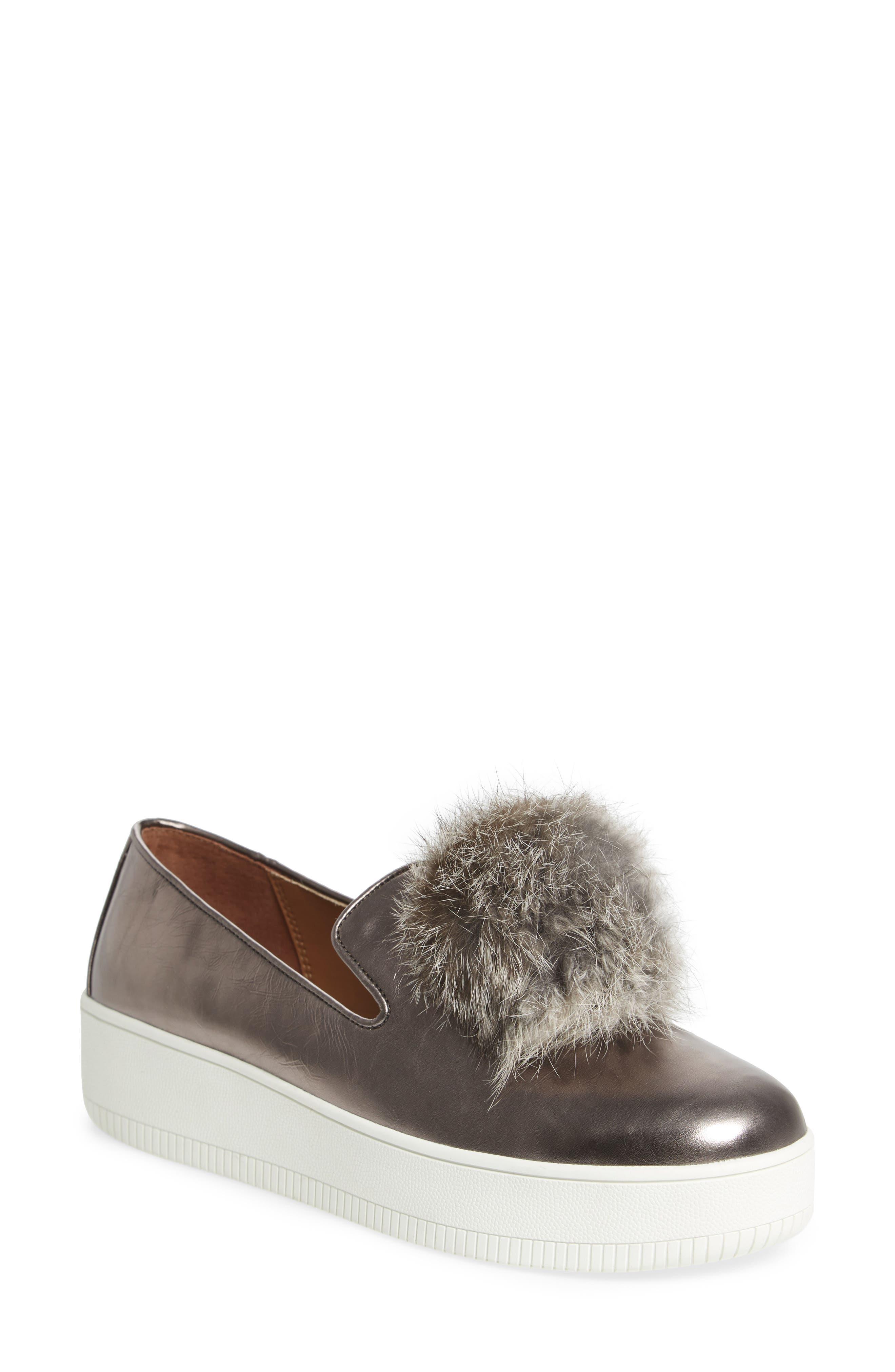 Linea Paolo Sammy Platform Sneaker with Genuine Rabbit Fur Pompom (Women)