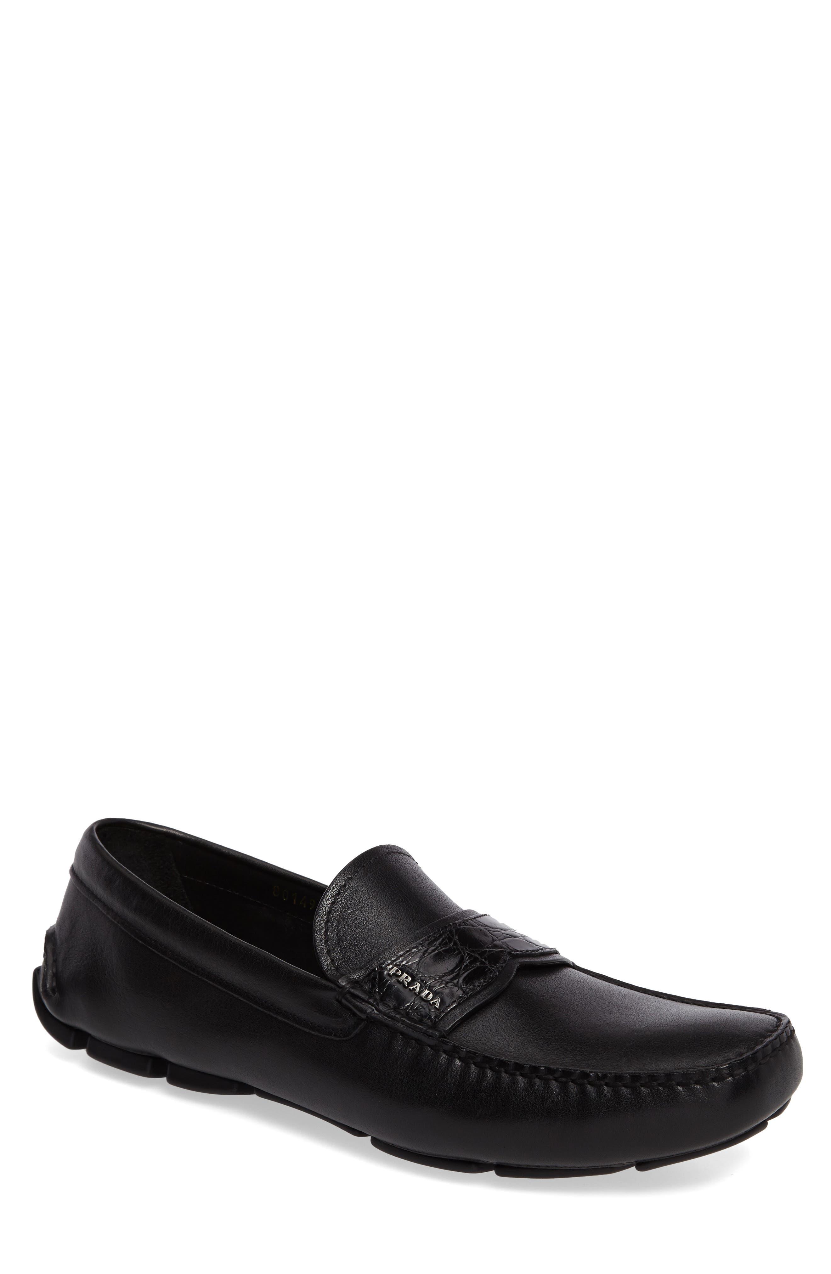 Prada Genuine Crocodile Detail Driving Shoe (Men)