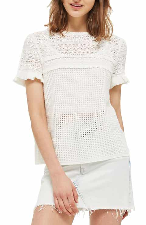Topshop Ruffle Sleeve Pointelle Knit Sweater
