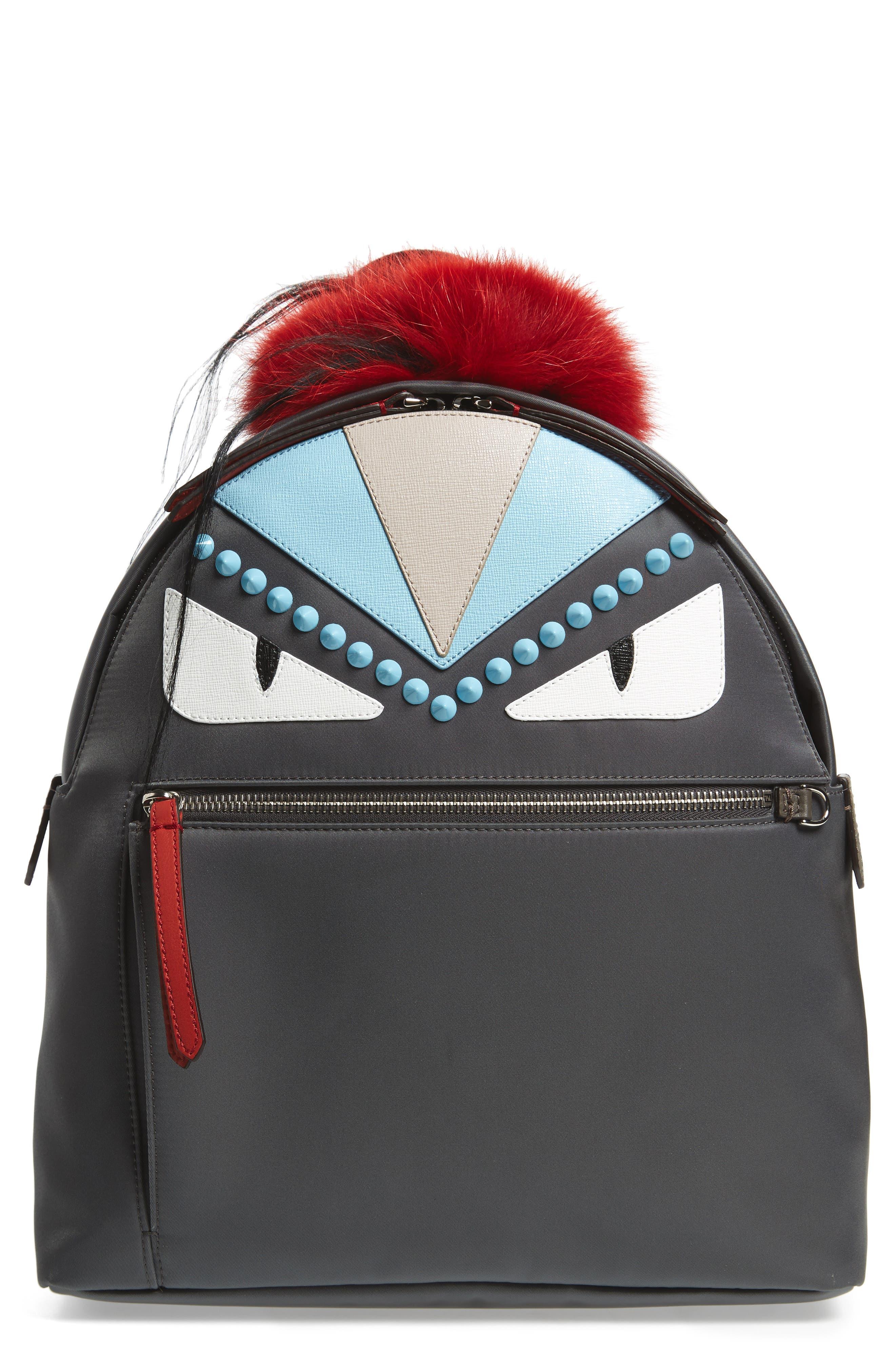 Fendi Monster Genuine Fur Trim Nylon Backpack