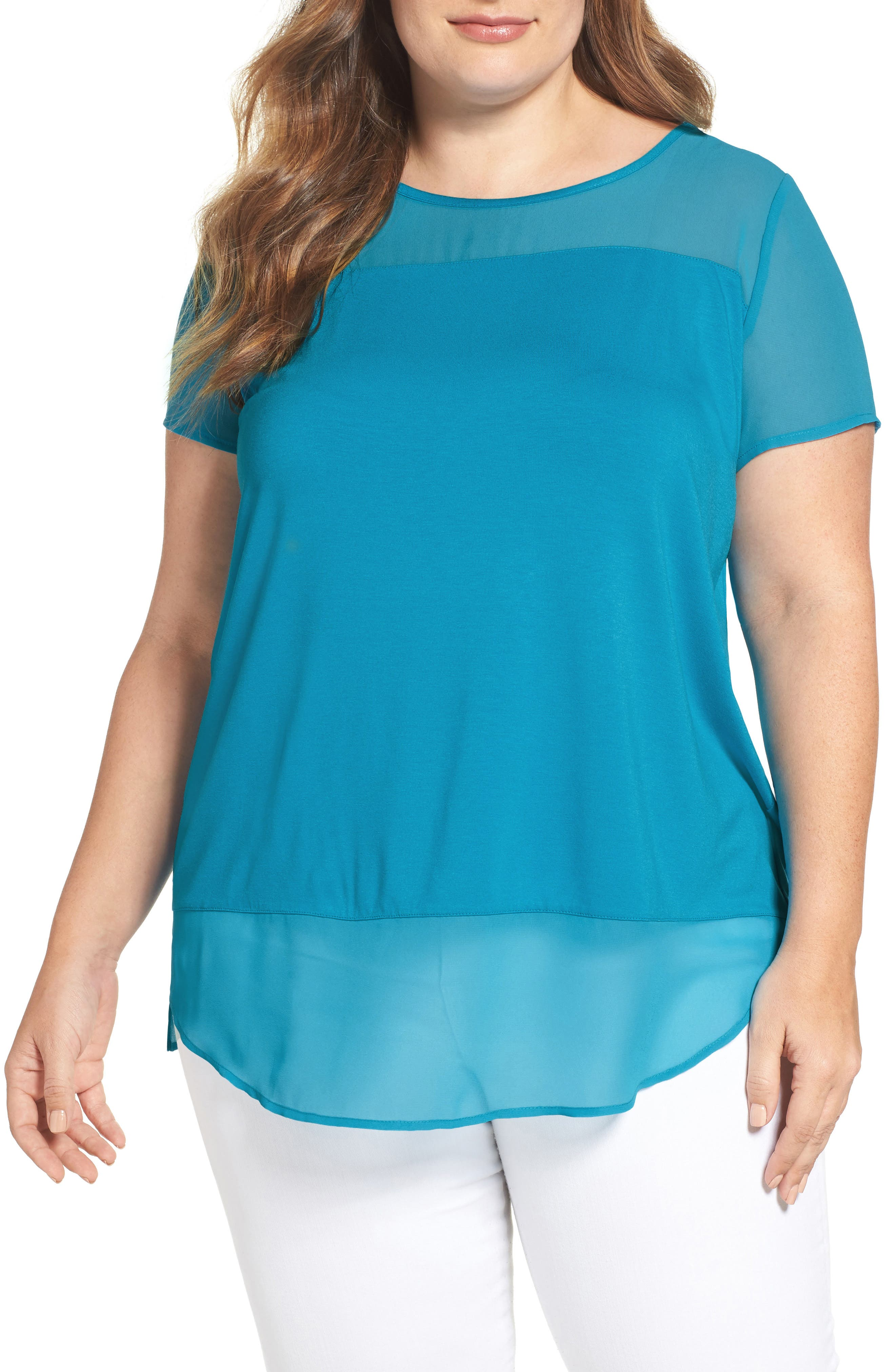 Vince Camuto Mixed Media Top (Plus Size)