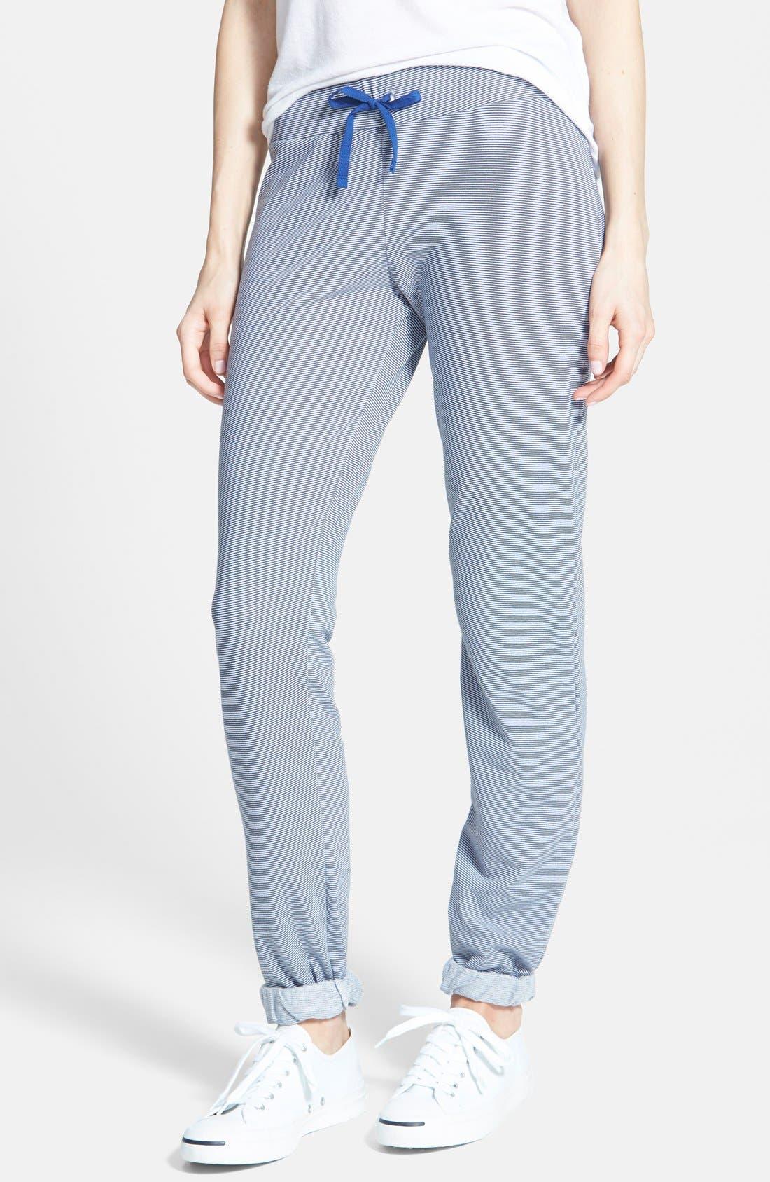 Main Image - Runway Girl Stripe Cuffed Sweatpants (Juniors)